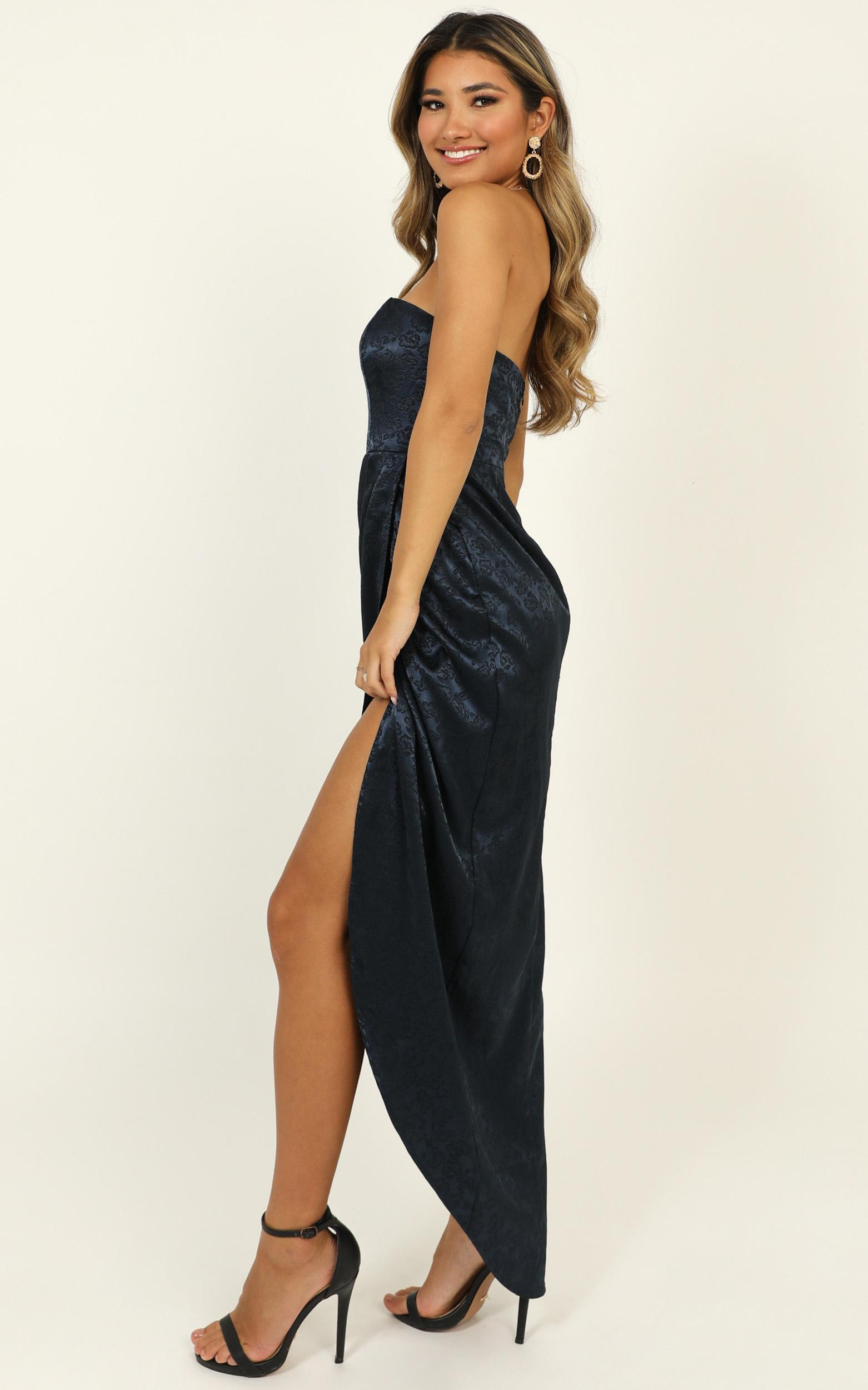 Dream Of You Dress in navy jacquard - 14 (XL), Blue, hi-res image number null