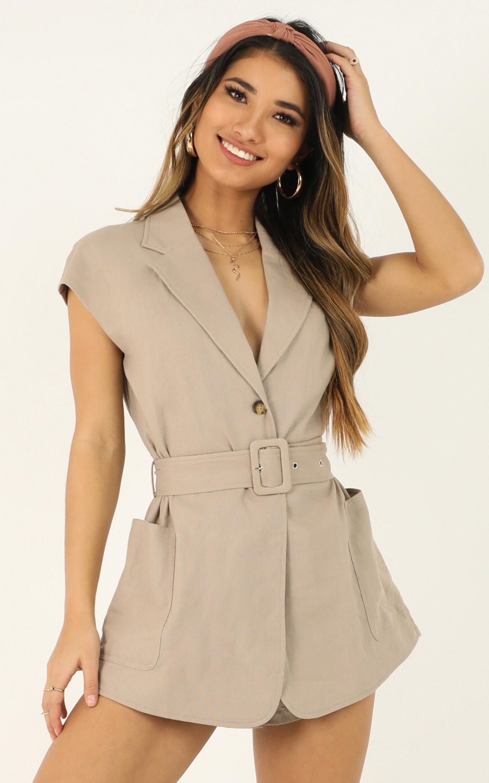 Speaking Of You Playsuit in taupe - 20 (XXXXL), Taupe, hi-res image number null
