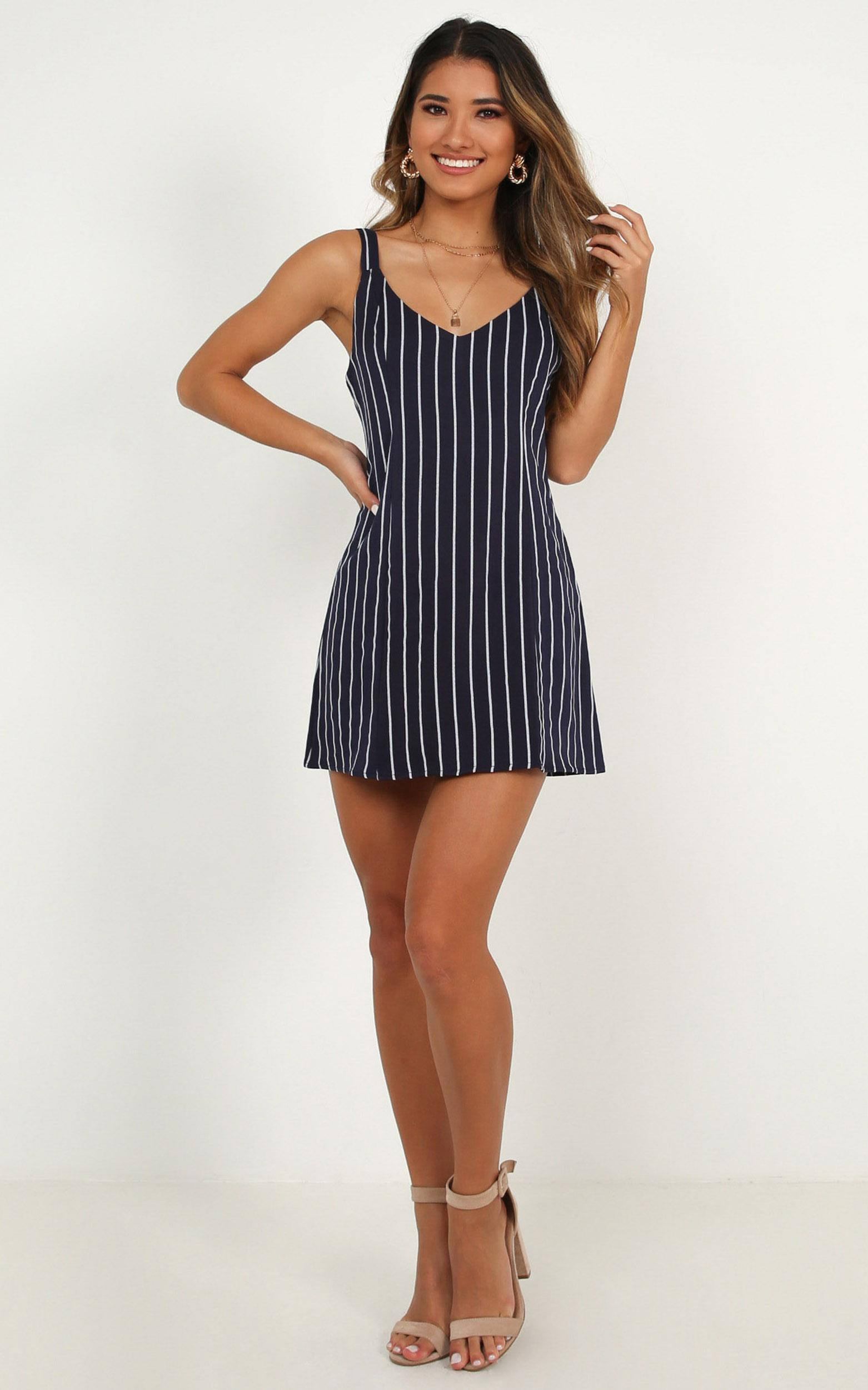 All This Time Dress In navy stripe - 14 (XL), Navy, hi-res image number null