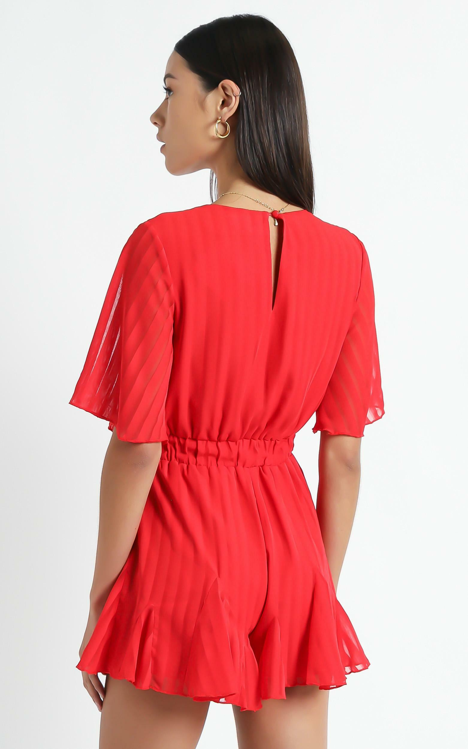 Play On My Heart Playsuit In Red - 4 (XXS), Red, hi-res image number null