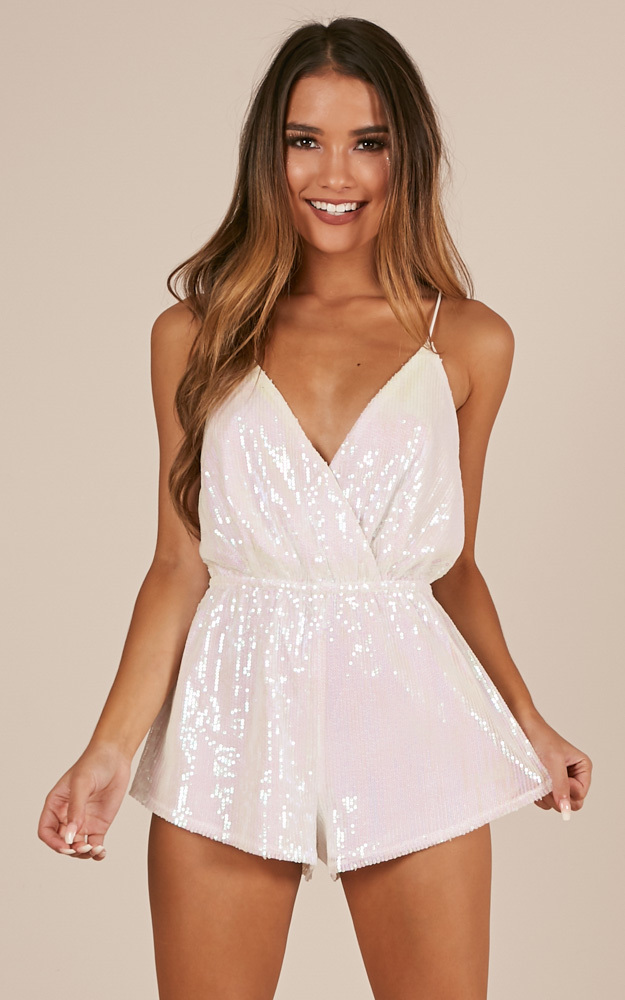 Disco Lights Playsuit in Pink Sequin - 4 (XXS), Pink, hi-res image number null