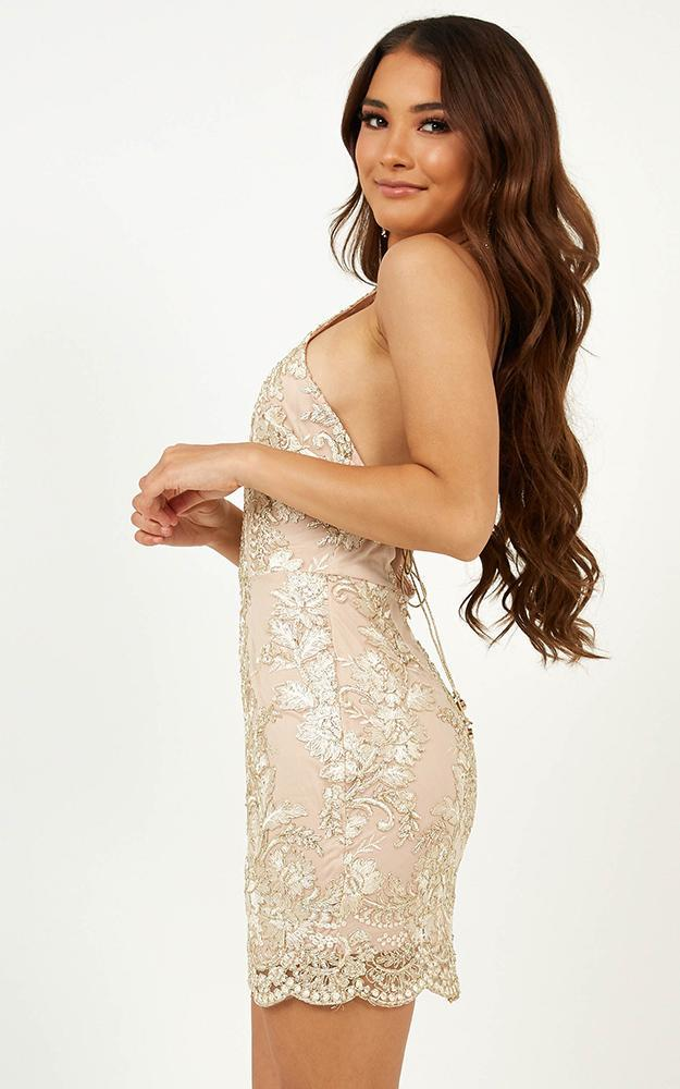 Staying Sane dress in gold - 12 (L), Gold, hi-res image number null