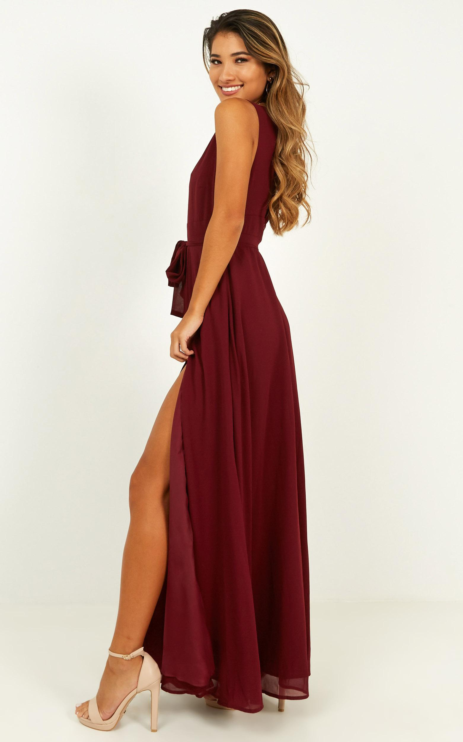 Wide Eyed Girl Maxi Dress in wine - 4 (XXS), Wine, hi-res image number null