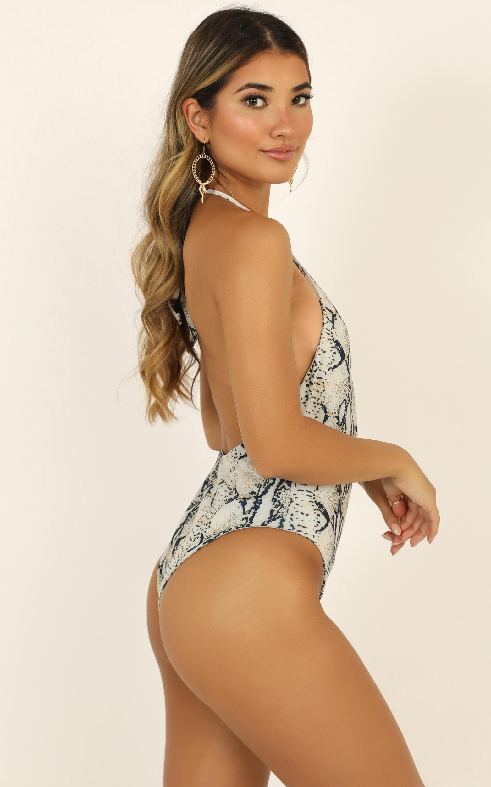 Lioness - Cindy One Piece In Snake Print - 12 (L), Cream, hi-res image number null
