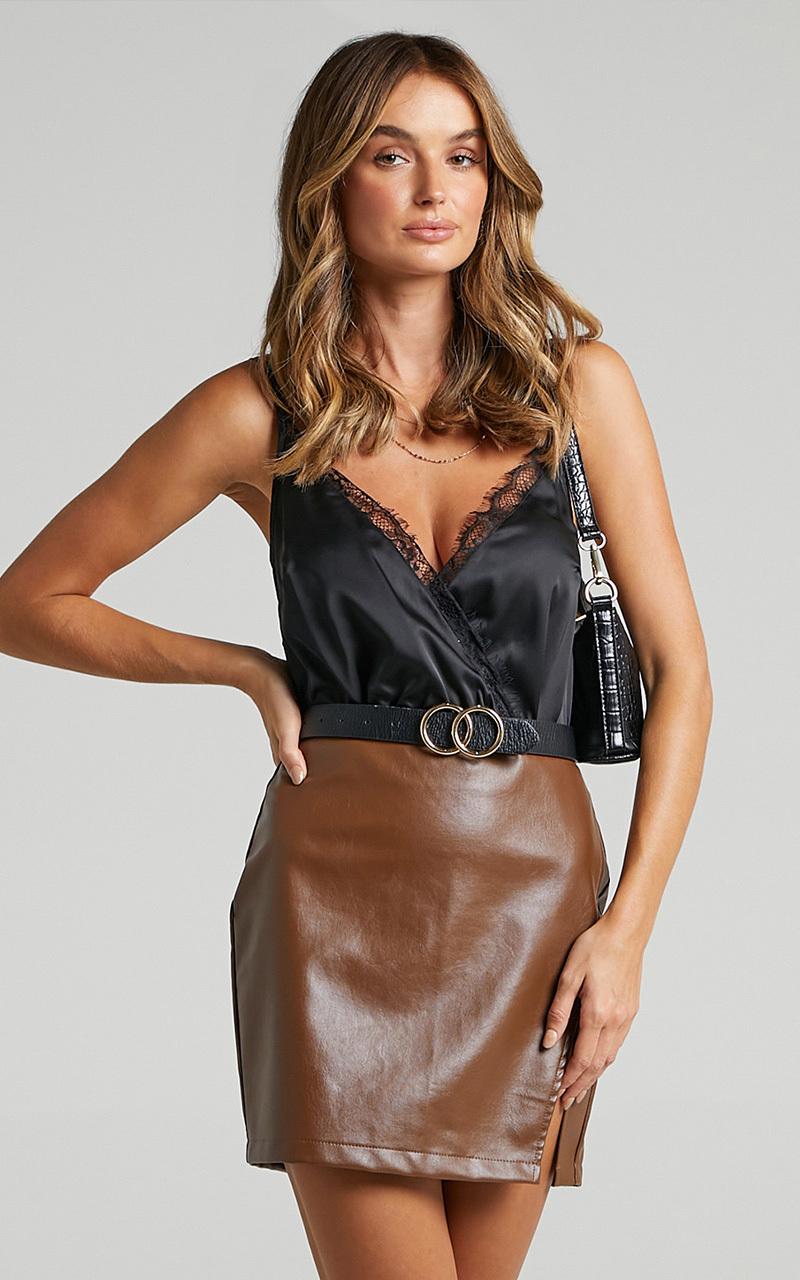 Welcome Home Bodysuit in Black Satin - 20, BLK1, hi-res image number null