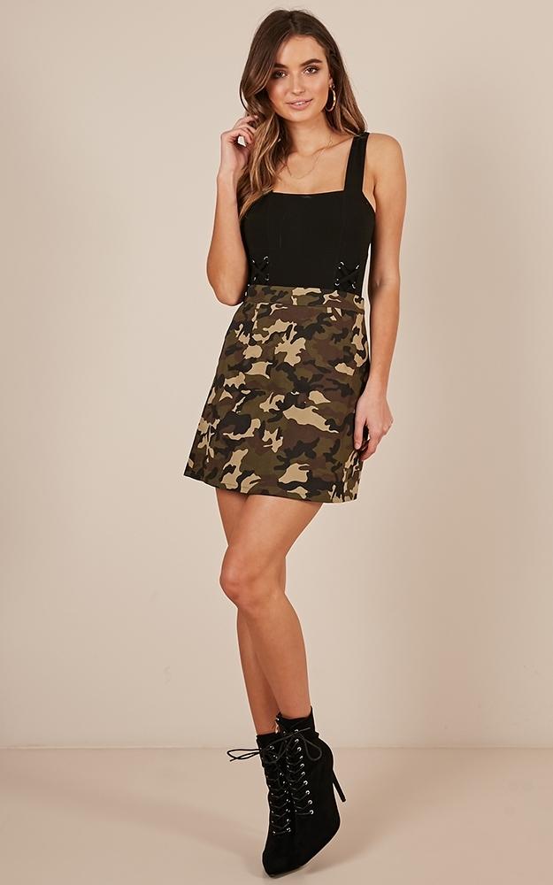 Hidden Away Skirt in camo - 12 (L), Khaki, hi-res image number null