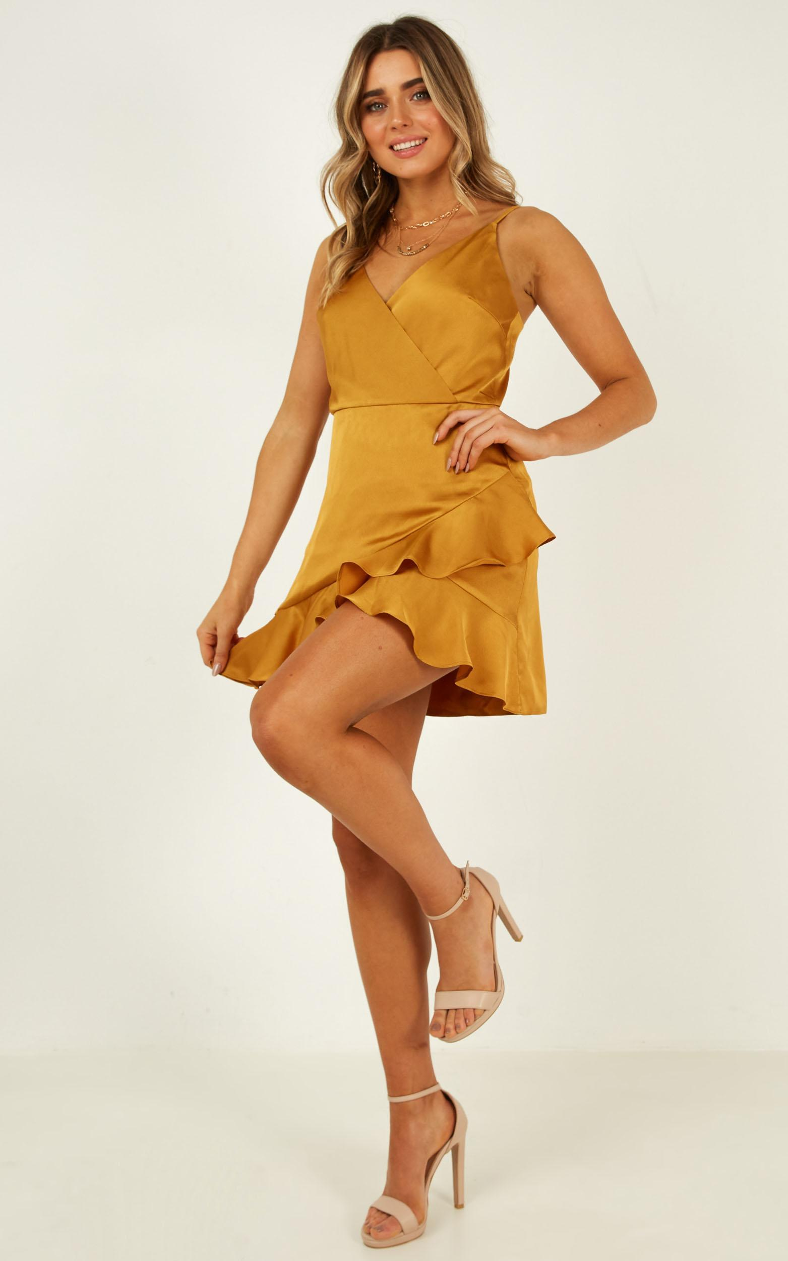 Cloud Cover Dress in mustard satin - 20 (XXXXL), Mustard, hi-res image number null