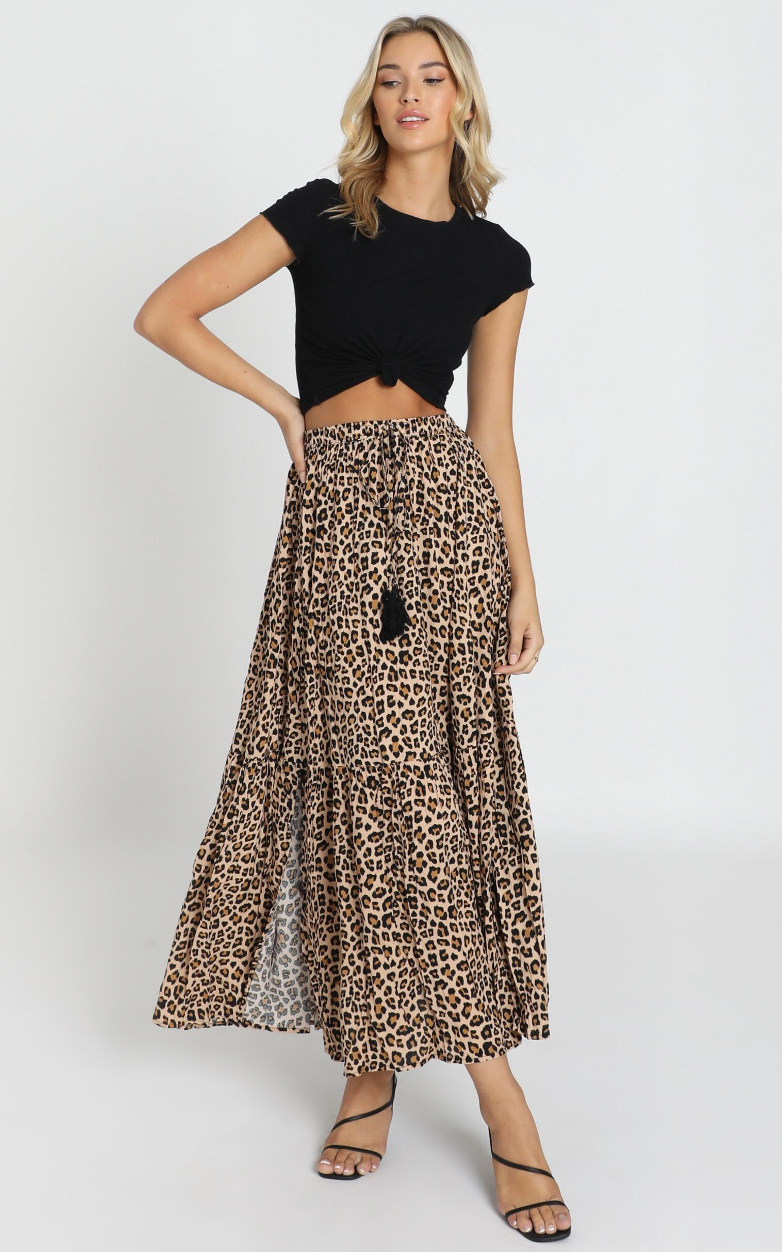 Off To Bali skirt in leopard print - 16 (XXL), Brown, hi-res image number null