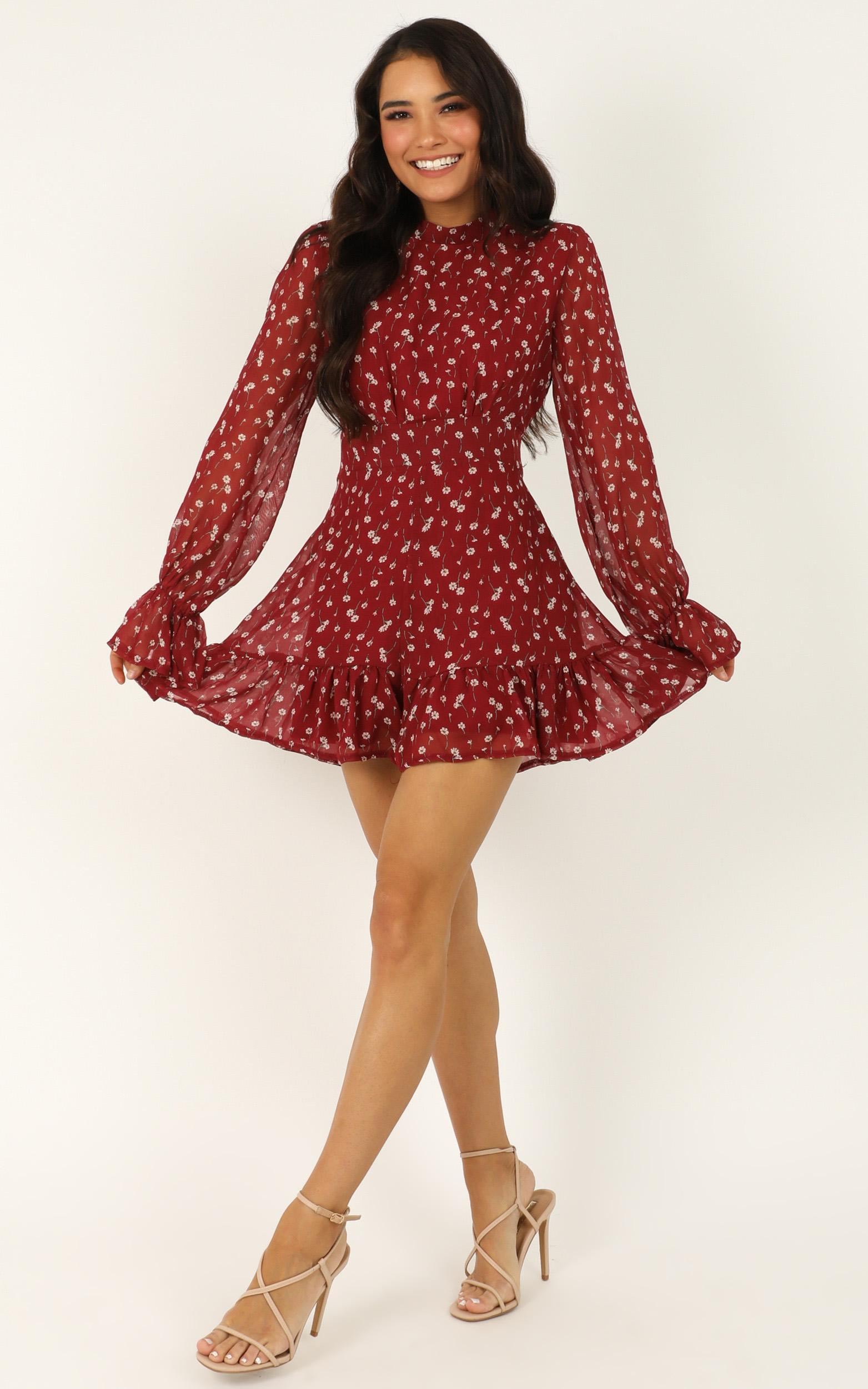 Minus The Fuss Playsuit in wine floral - 20 (XXXXL), Wine, hi-res image number null