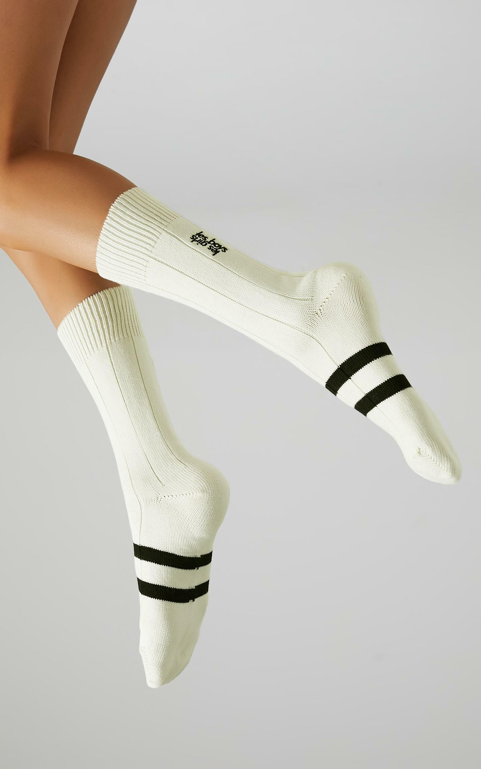 Les Girls Les Boys - Mid Calf Sock in Off White - S, WHT3, hi-res image number null