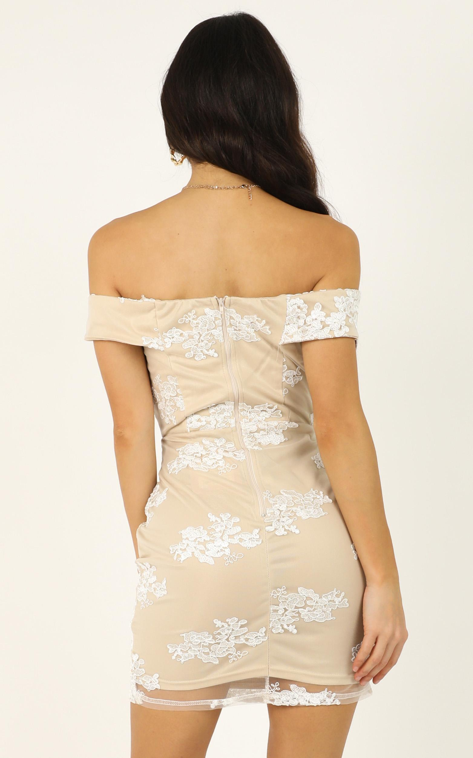 Take Me Somewhere dress in nude lace - 12 (L), Beige, hi-res image number null