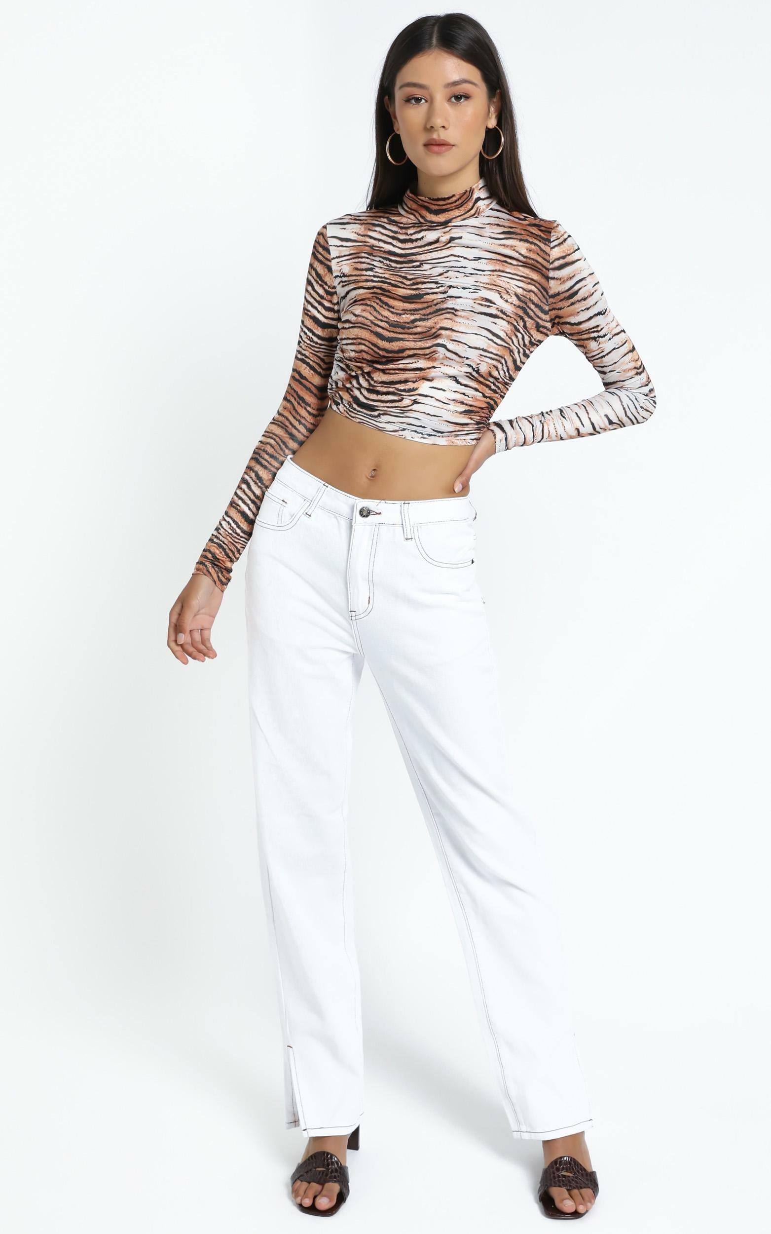 Greenwich Backless Top in Tiger - 12 (L), Brown, hi-res image number null