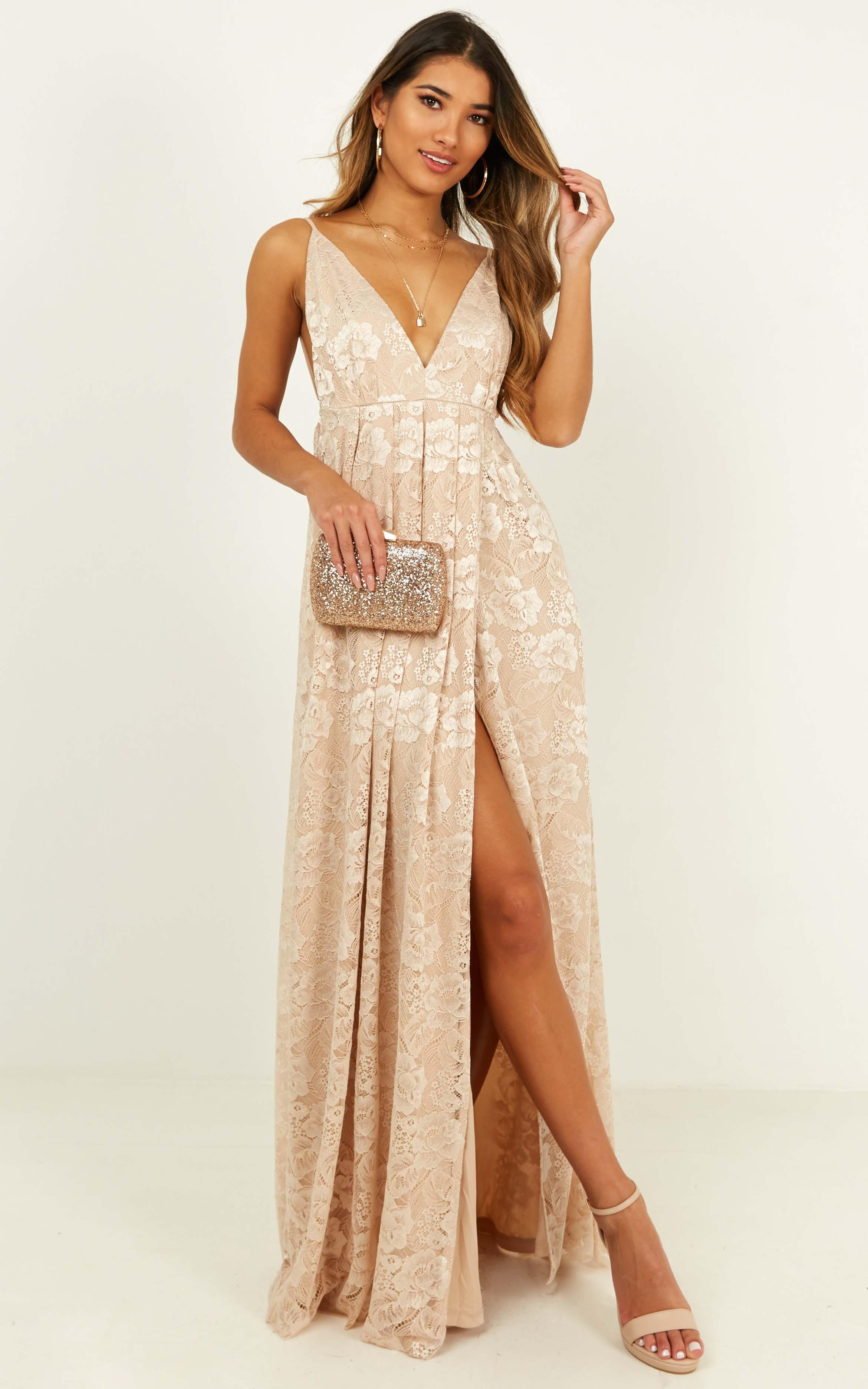 Everything You Say Dress in champagne lace - 12 (L), Beige, hi-res image number null