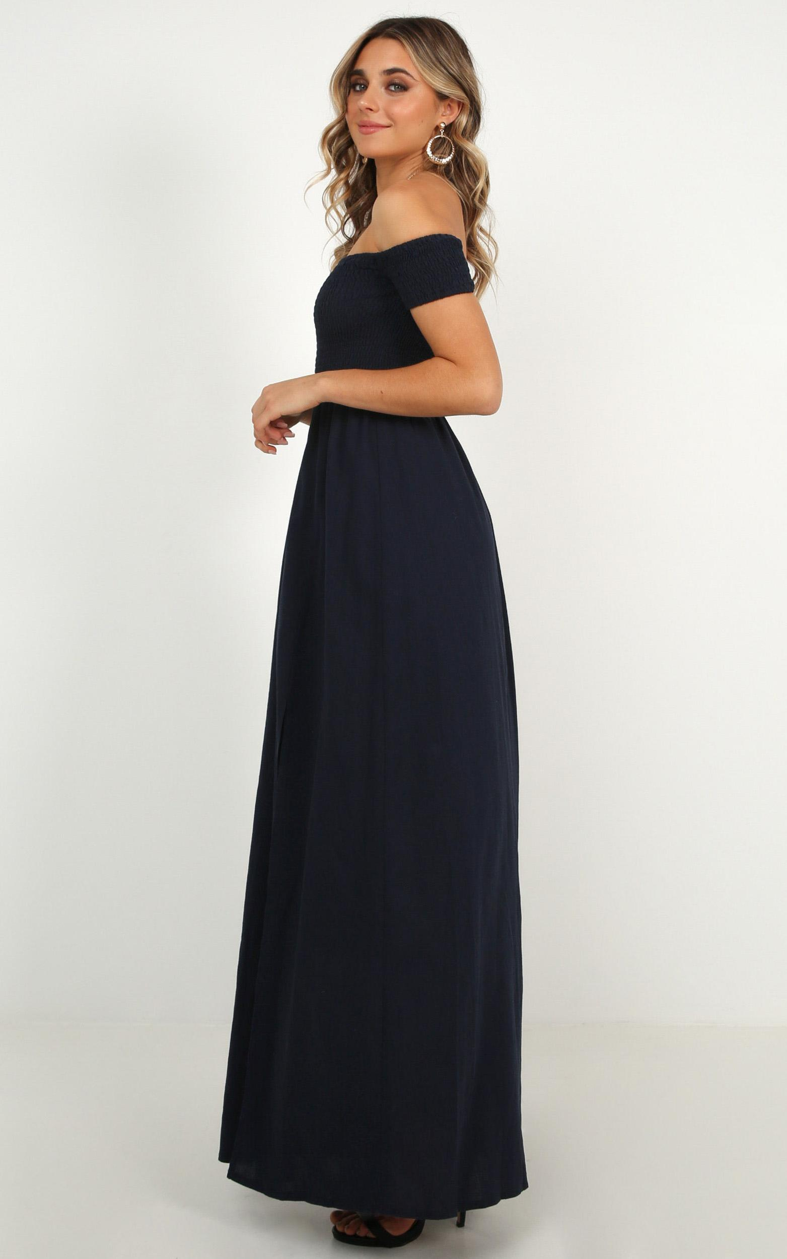 Game Changing maxi dress in navy linen look - 6 (XS), Navy, hi-res image number null