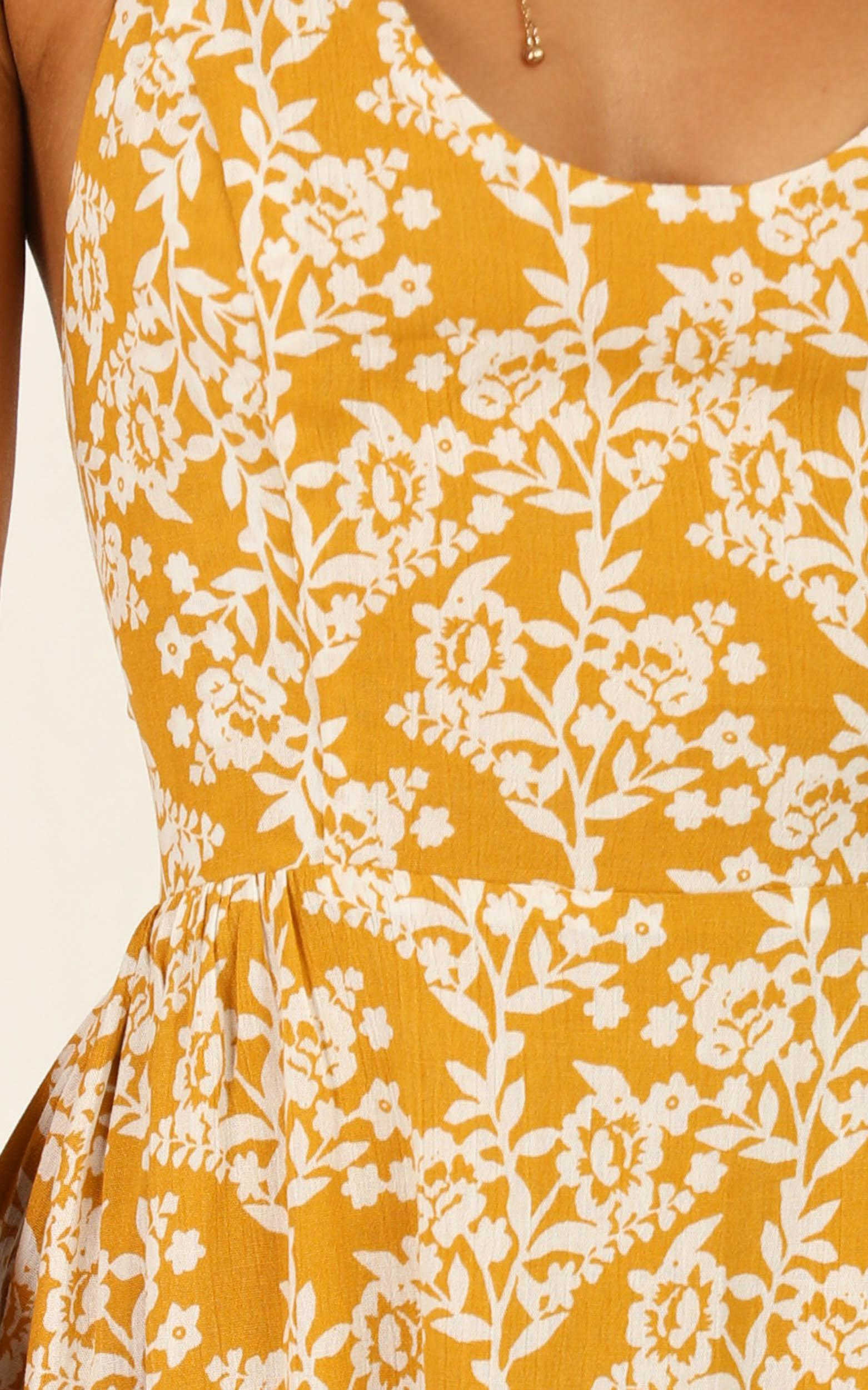Excited For Tomorrow Dress in mustard floral- 20 (XXXXL), Mustard, hi-res image number null