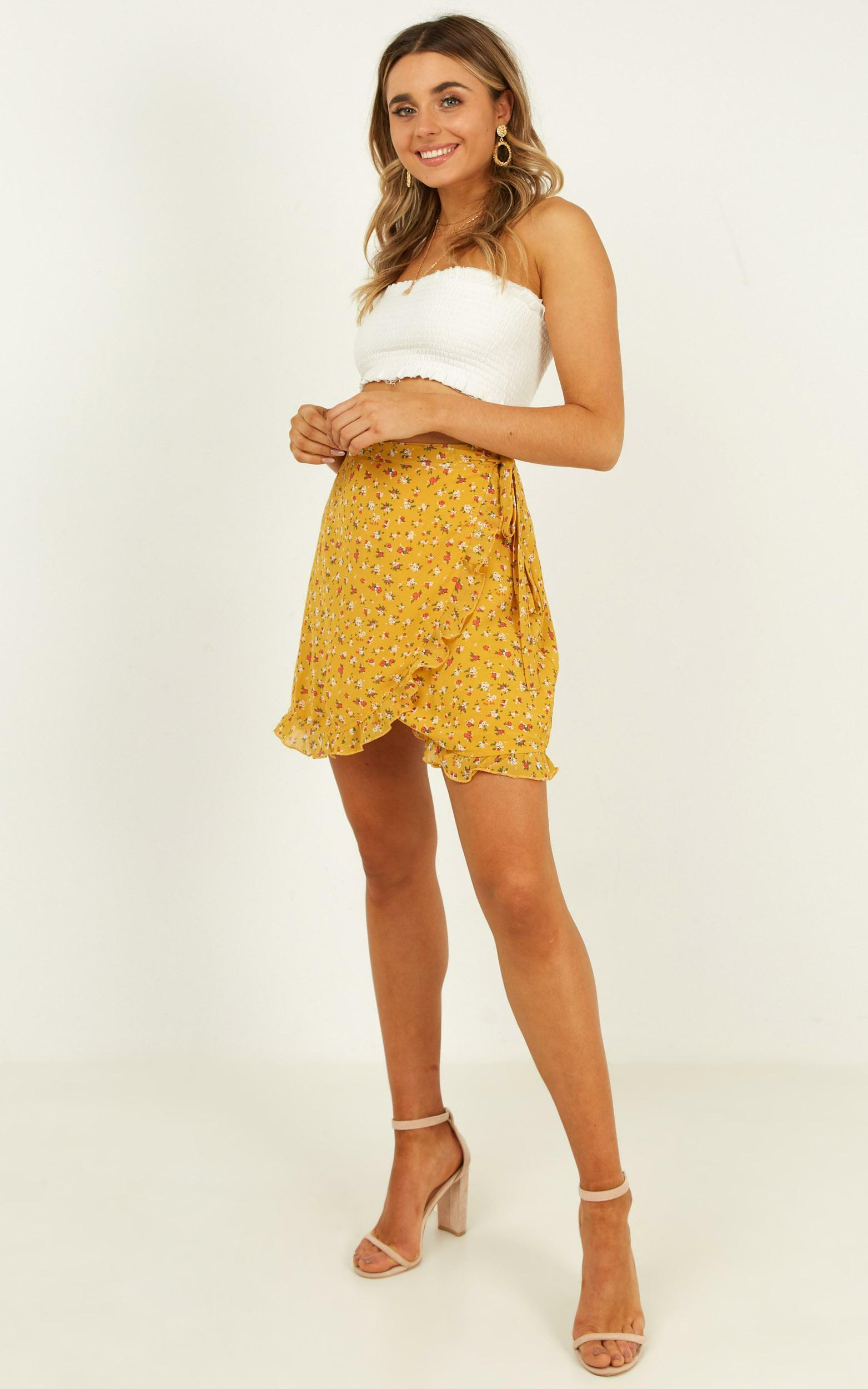 Started With A Kiss Skirt in mustard floral - 12 (L), Mustard, hi-res image number null
