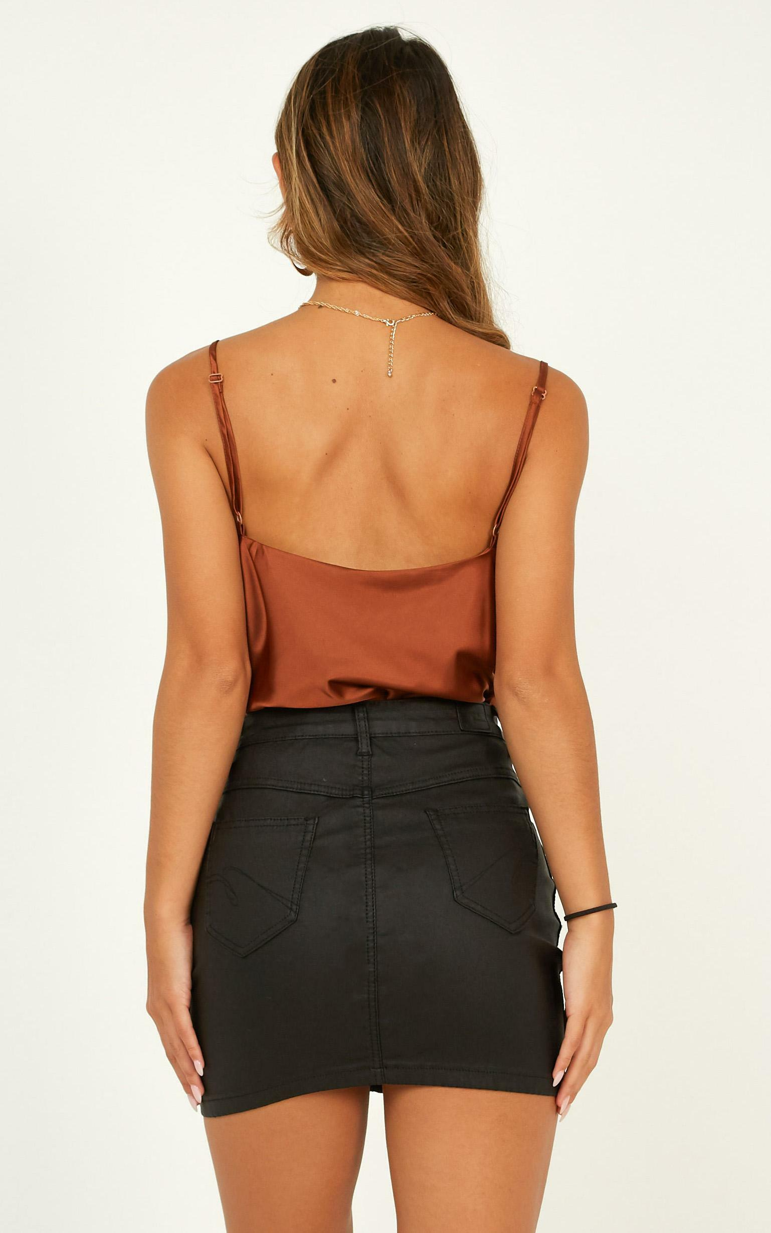 Straight Line top in chocolate satin - 12 (L), Brown, hi-res image number null