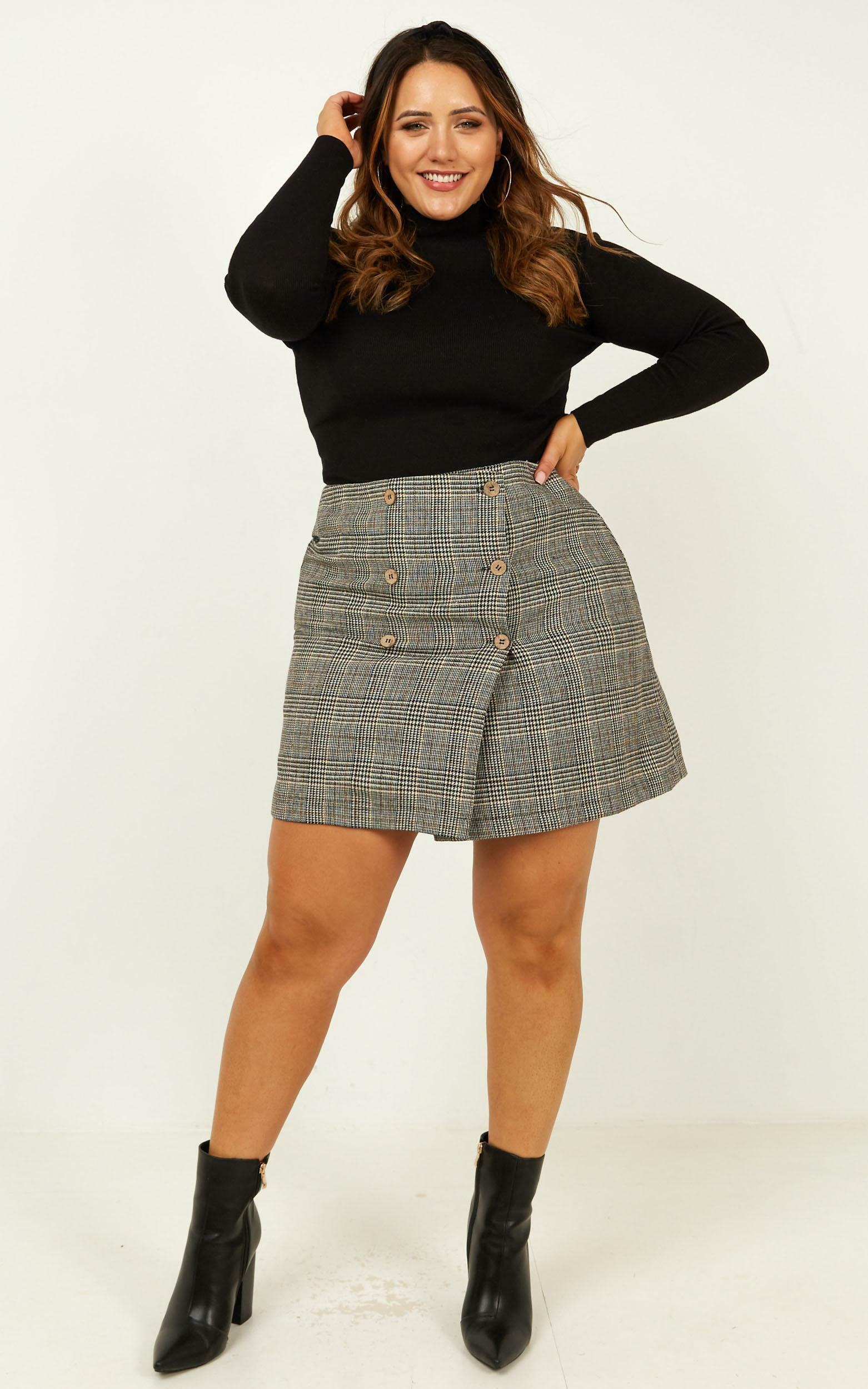 Thoughts Of You Skirt In Black Check - 4 (XXS), Black, hi-res image number null