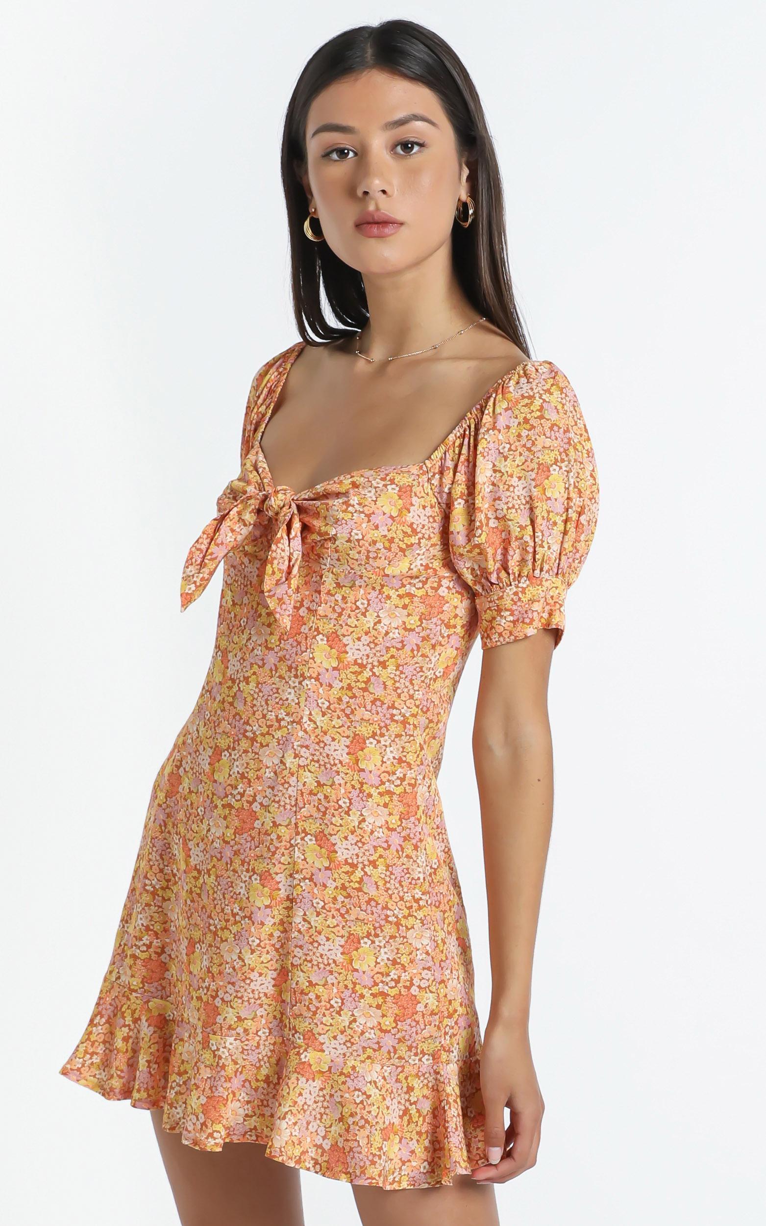 Rosa Dress in Blushing Floral - 14 (XL), Orange, hi-res image number null
