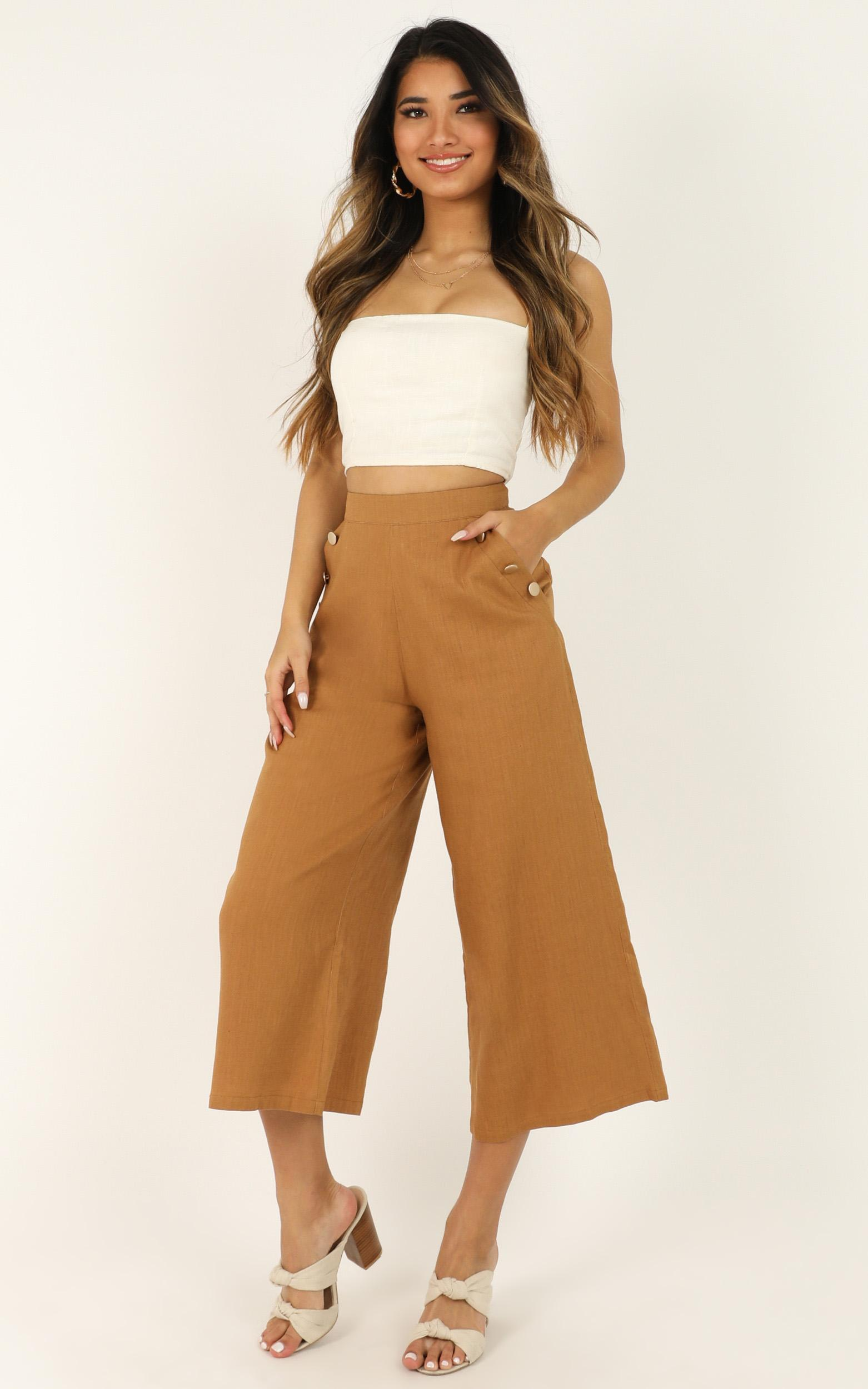 Waiting All Night Pants In tan linen look - 16 (XXL), Tan, hi-res image number null