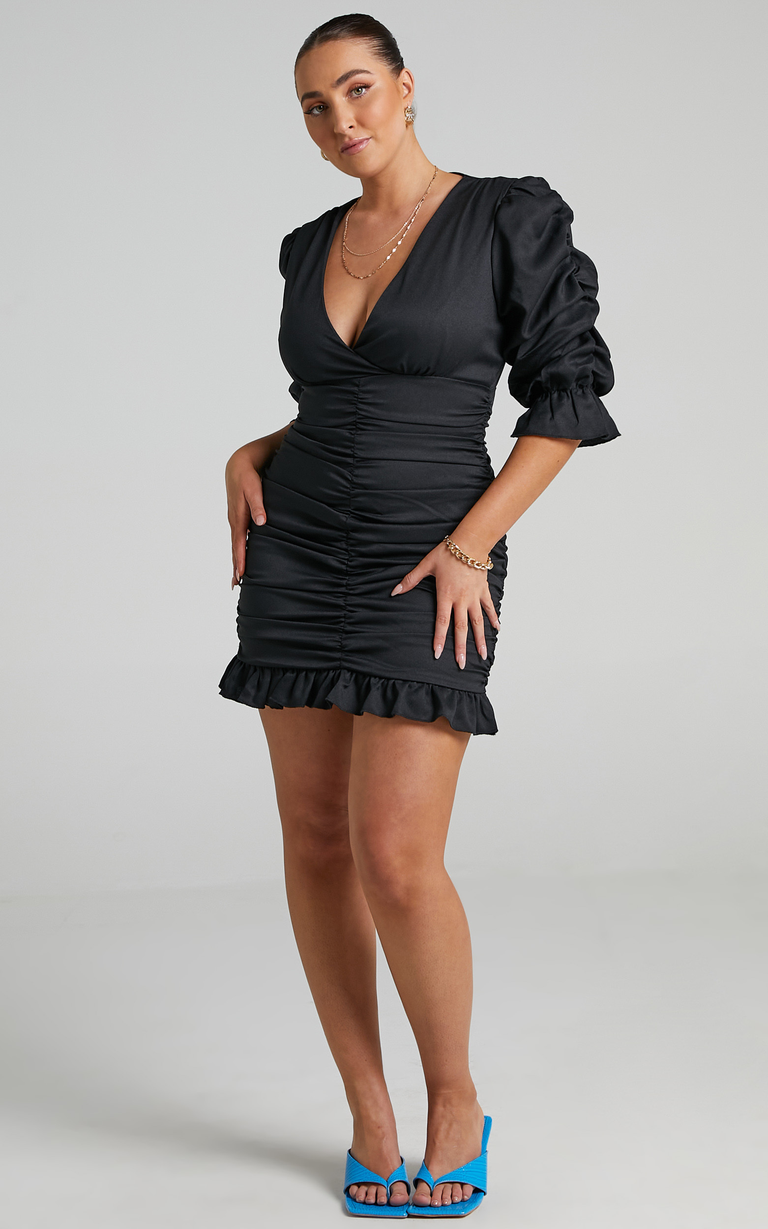 Claremont Ruched Puff Sleeve Mini Dress in Black - 06, BLK1, hi-res image number null