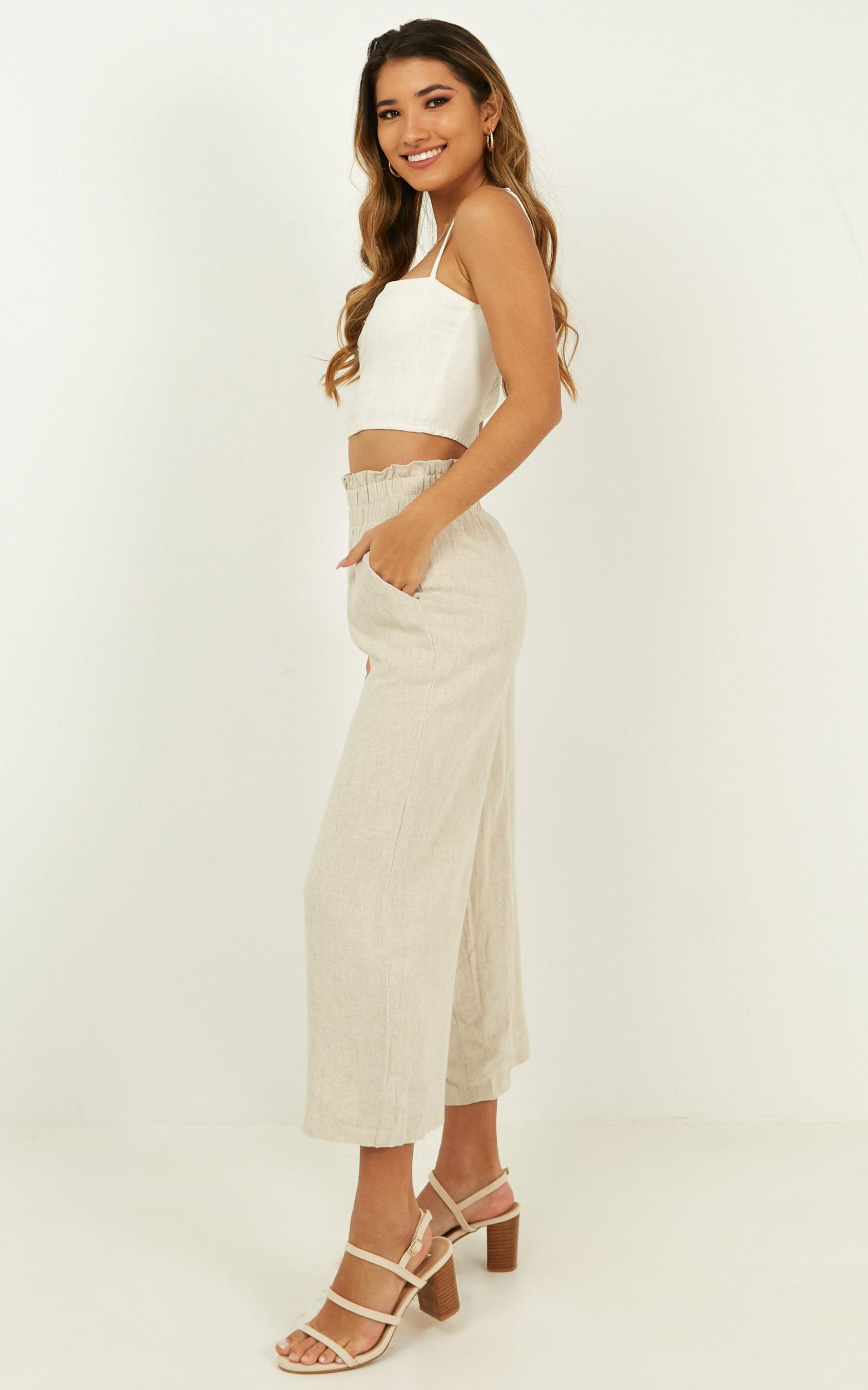 Sunny Times Pants In beige linen look - 12 (L), Beige, hi-res image number null