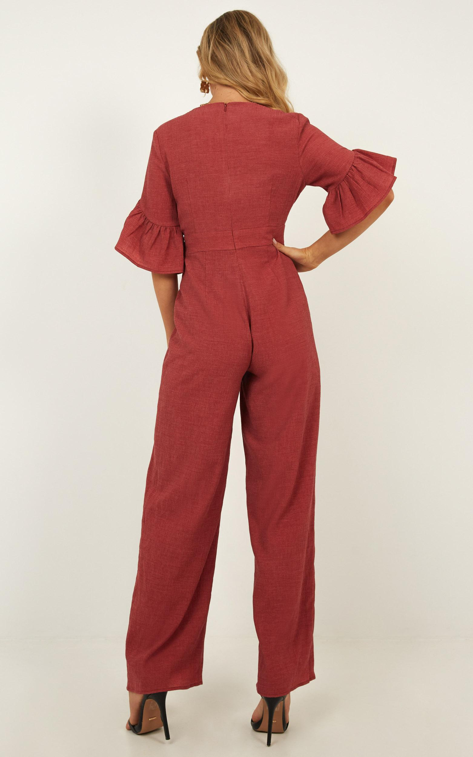 Lala Land Jumpsuit in paprika linen look - 18 (XXXL), Red, hi-res image number null