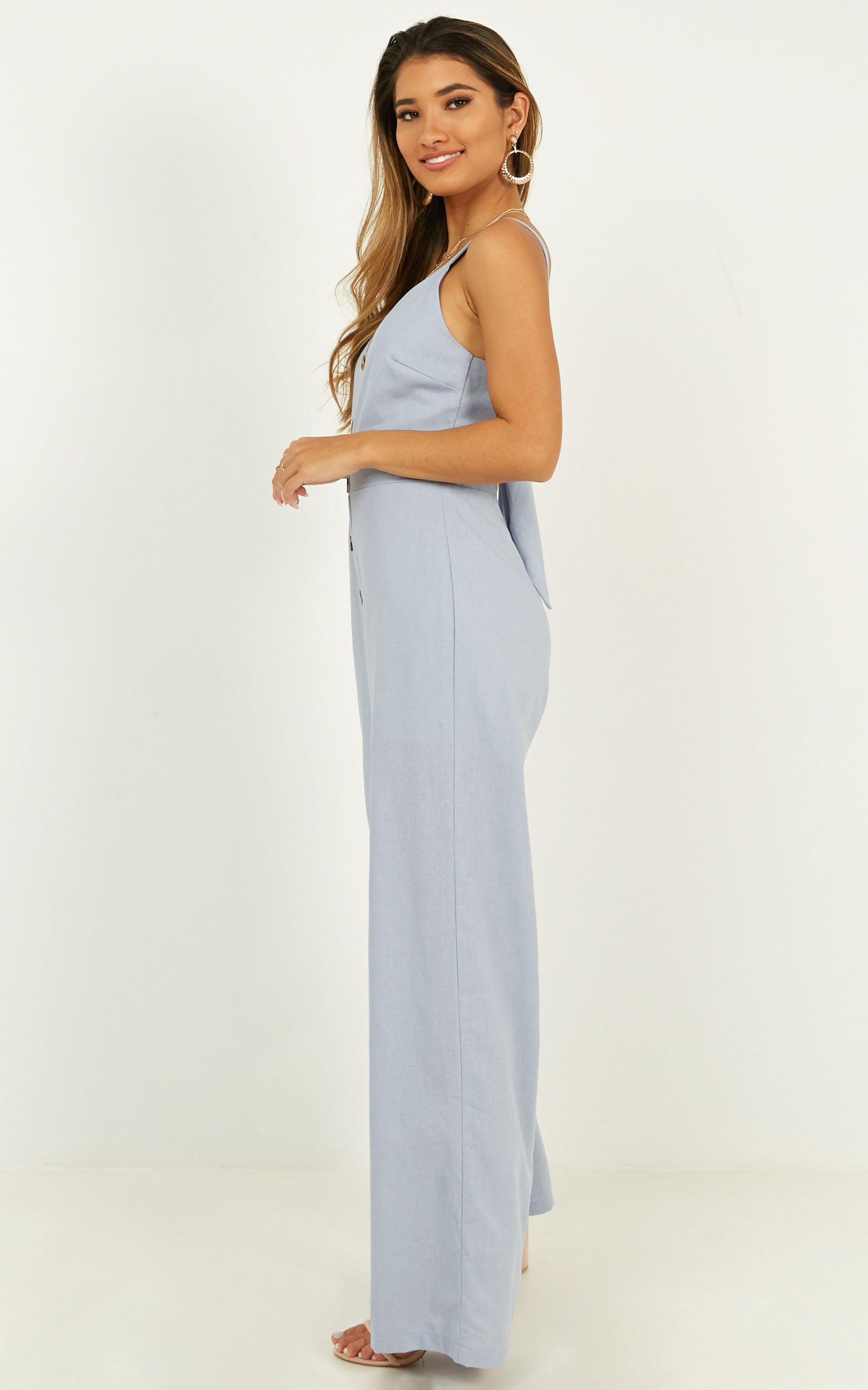 Looking out for you Jumpsuit in pale blue linen - 20 (XXXXL), Blue, hi-res image number null