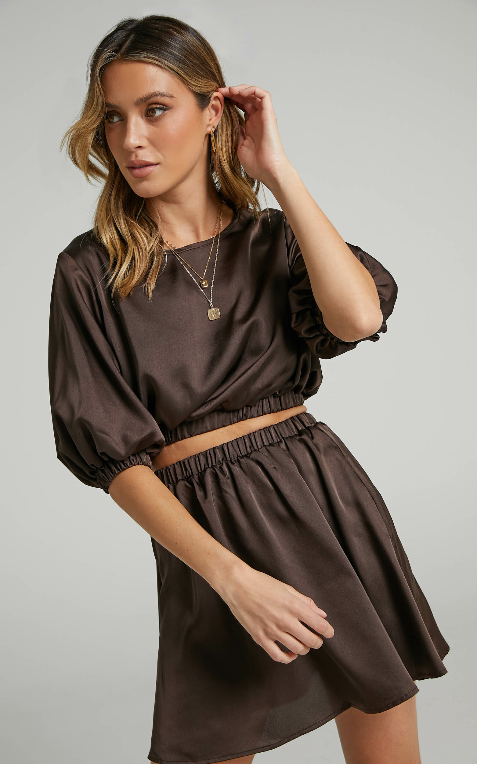 Alyza Mini Two Piece Set in Chocolate - 06, BRN1, hi-res image number null