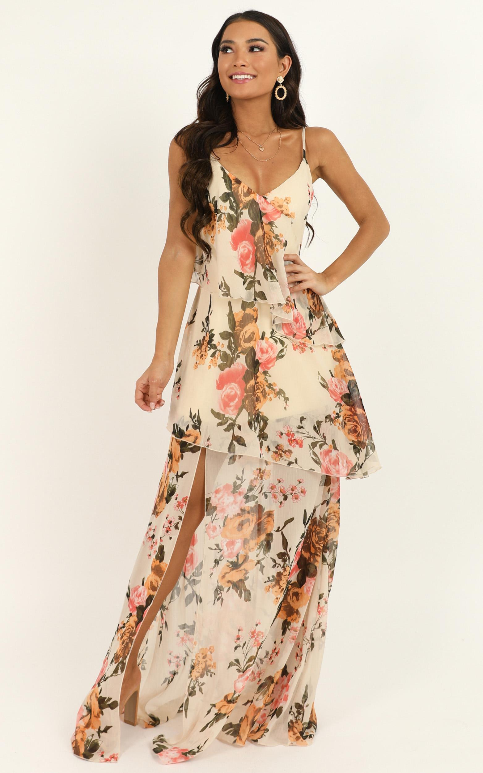 Flounce Maxi Dress in cream floral - 18 (XXXL), Cream, hi-res image number null
