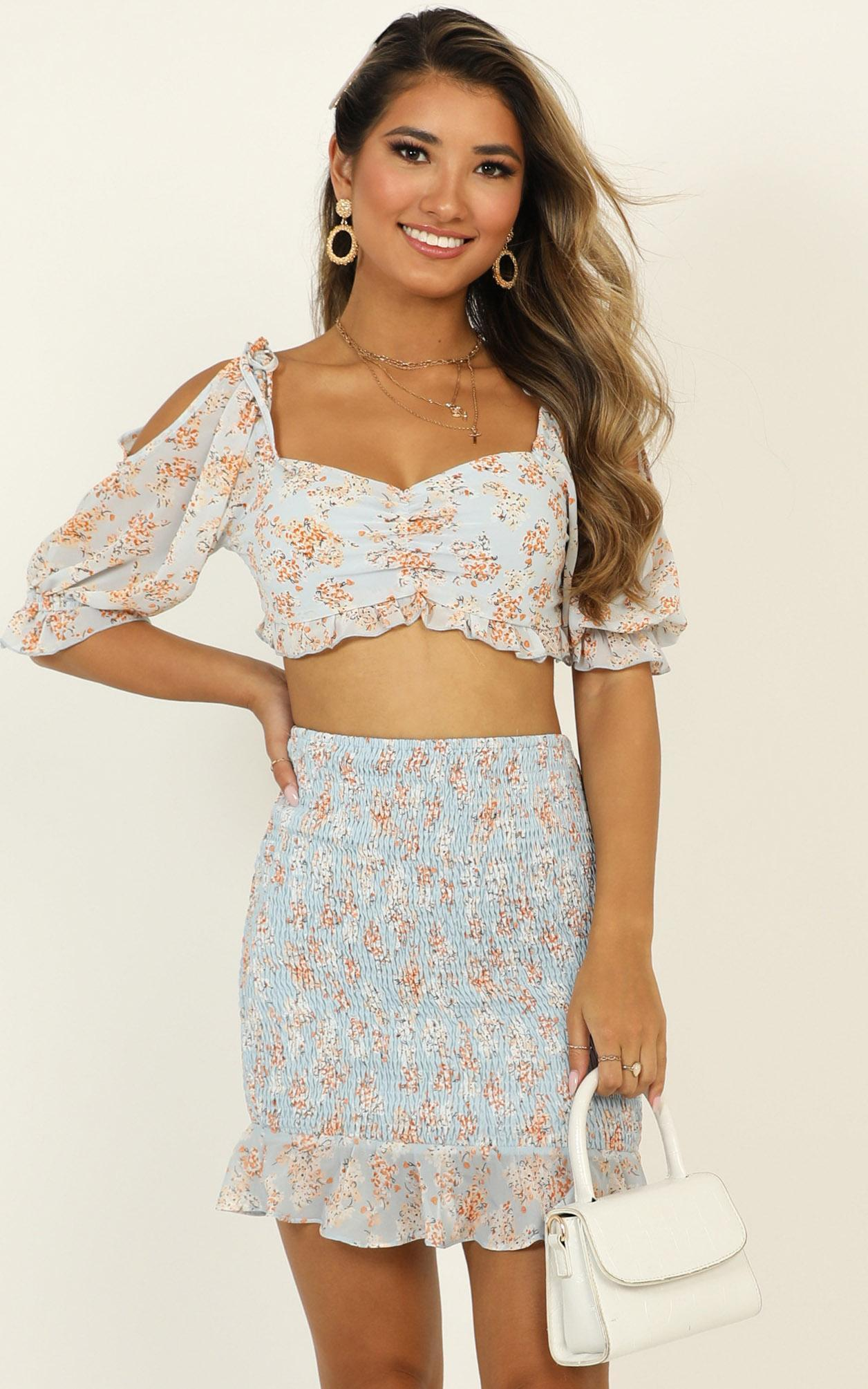 Gather Around Skirt in blue floral - 14 (XL), Blue, hi-res image number null