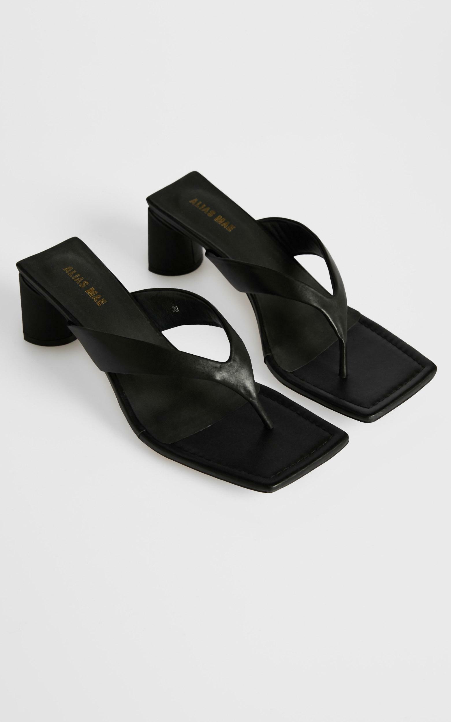 Alias Mae - Noah Sandals in Black Kid Leather - 5.5, Black, hi-res image number null