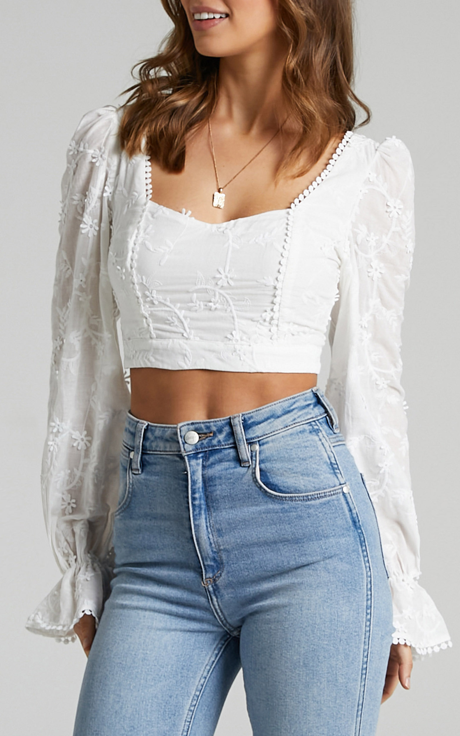 Johanna Embroidery Anglaise Longsleeve Top in White - 06, WHT1, hi-res image number null