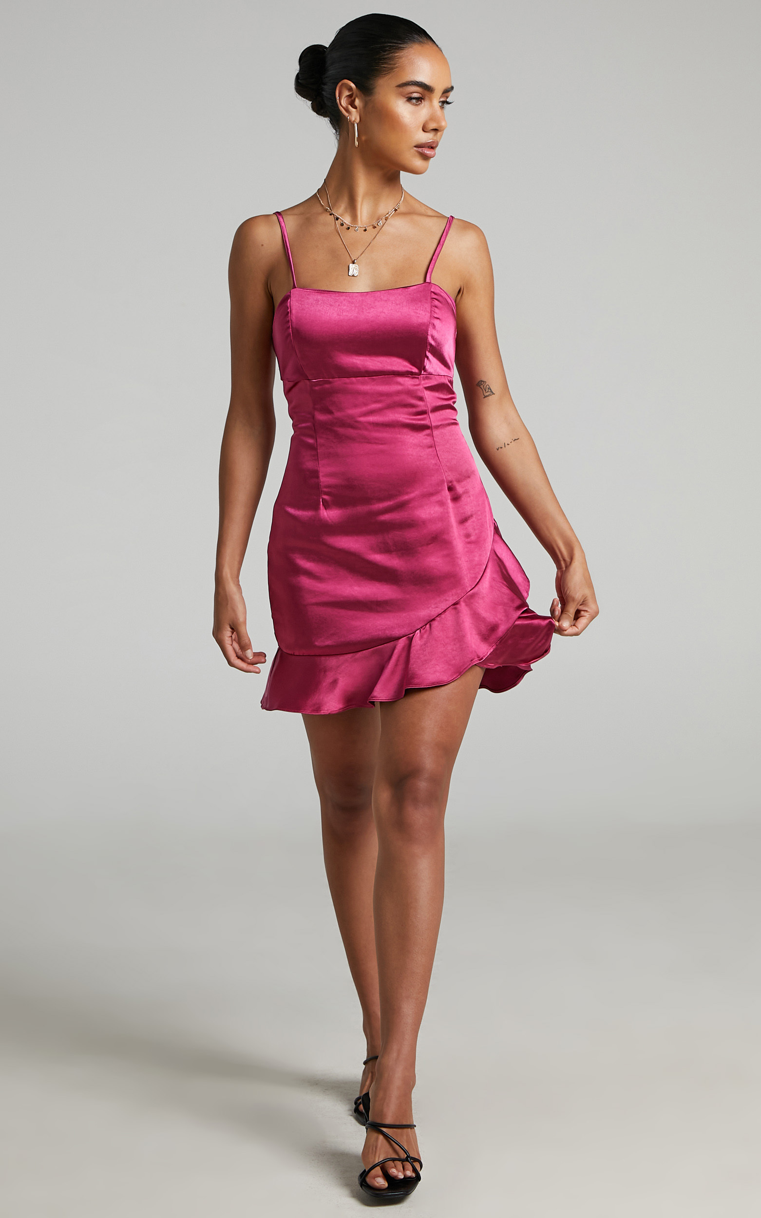 Aida Asymmetrical frill mini dress in Hot Pink - 04, PNK2, hi-res image number null
