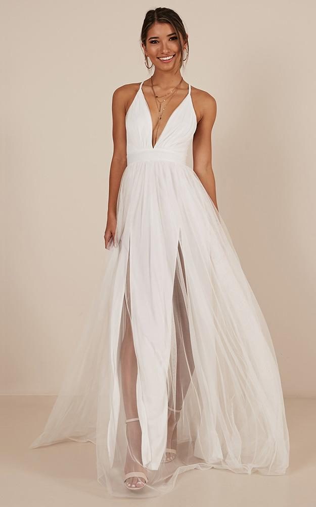 Celebrate tonight maxi dress in white - 12 (L), White, hi-res image number null