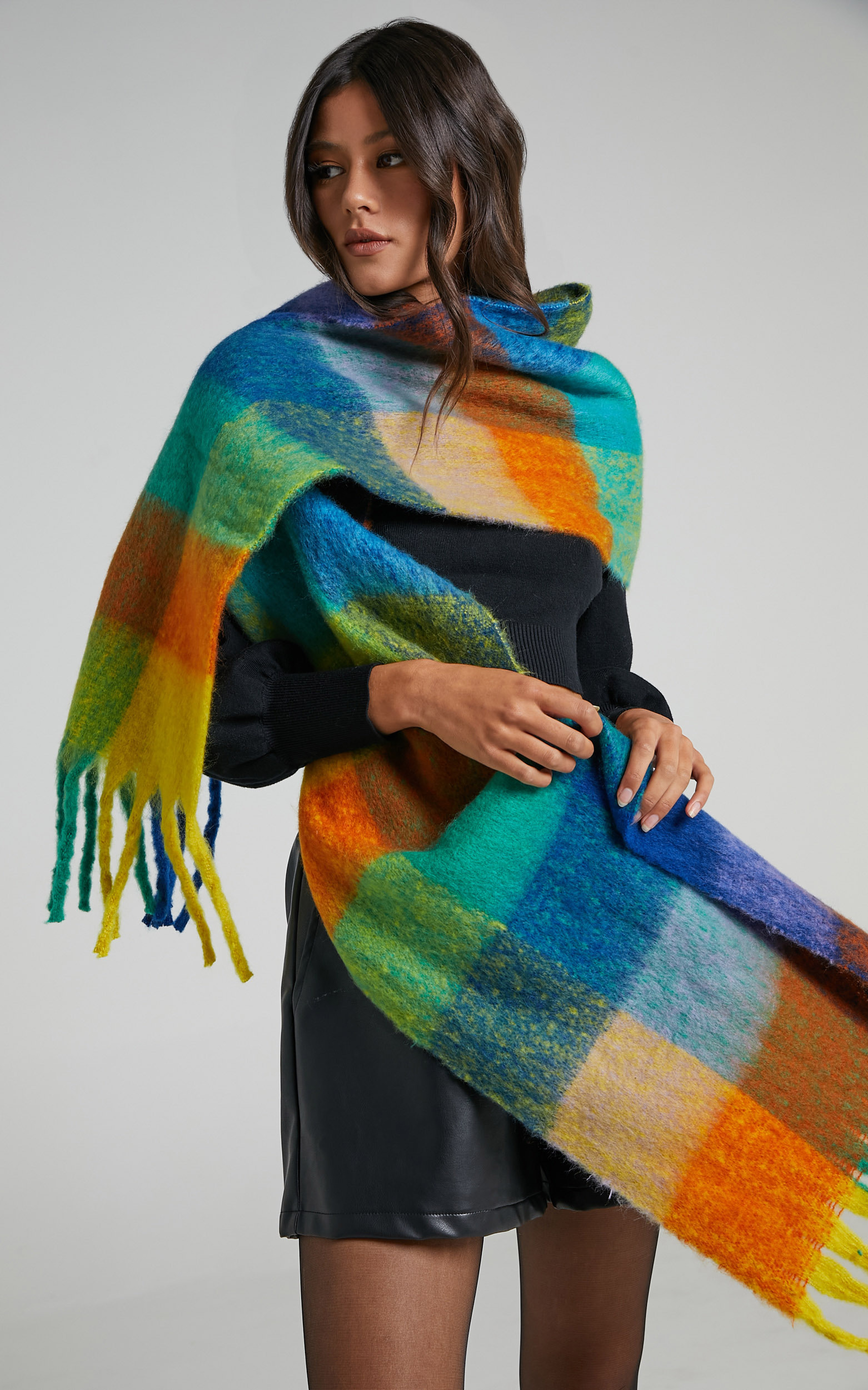 Lindsey Scarf in Bright Multi Check - OneSize, MLT1, hi-res image number null
