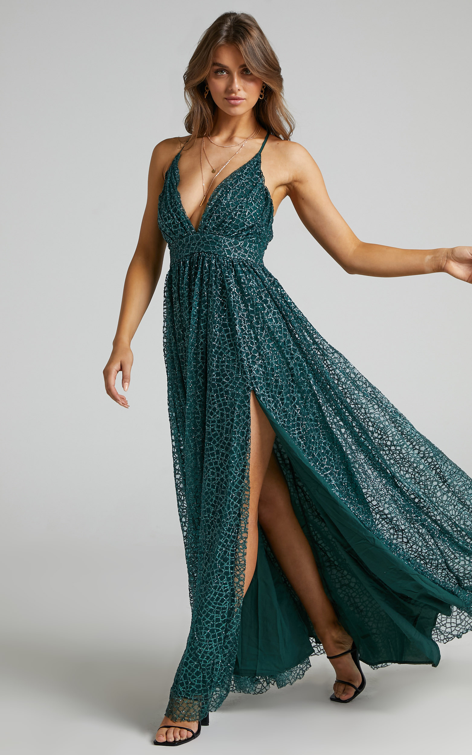 Lady Godiva Dress in Emerald Glitter Tulle - 06, GRN2, hi-res image number null