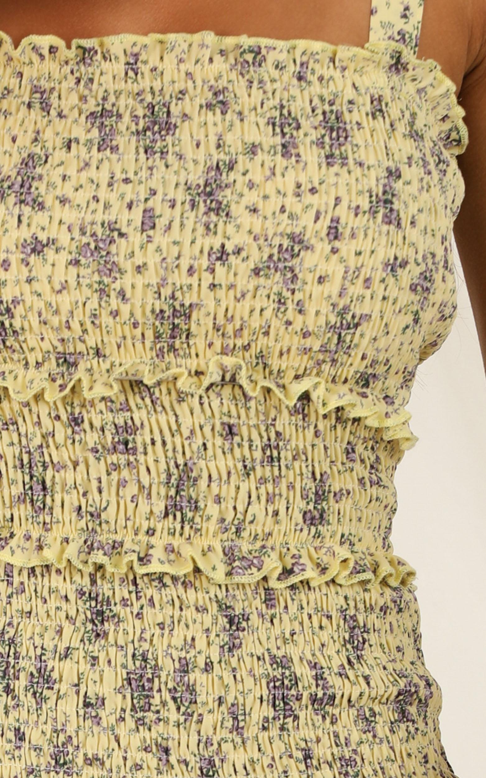 Look This Way dress in yellow floral - 16 (XXL), Yellow, hi-res image number null