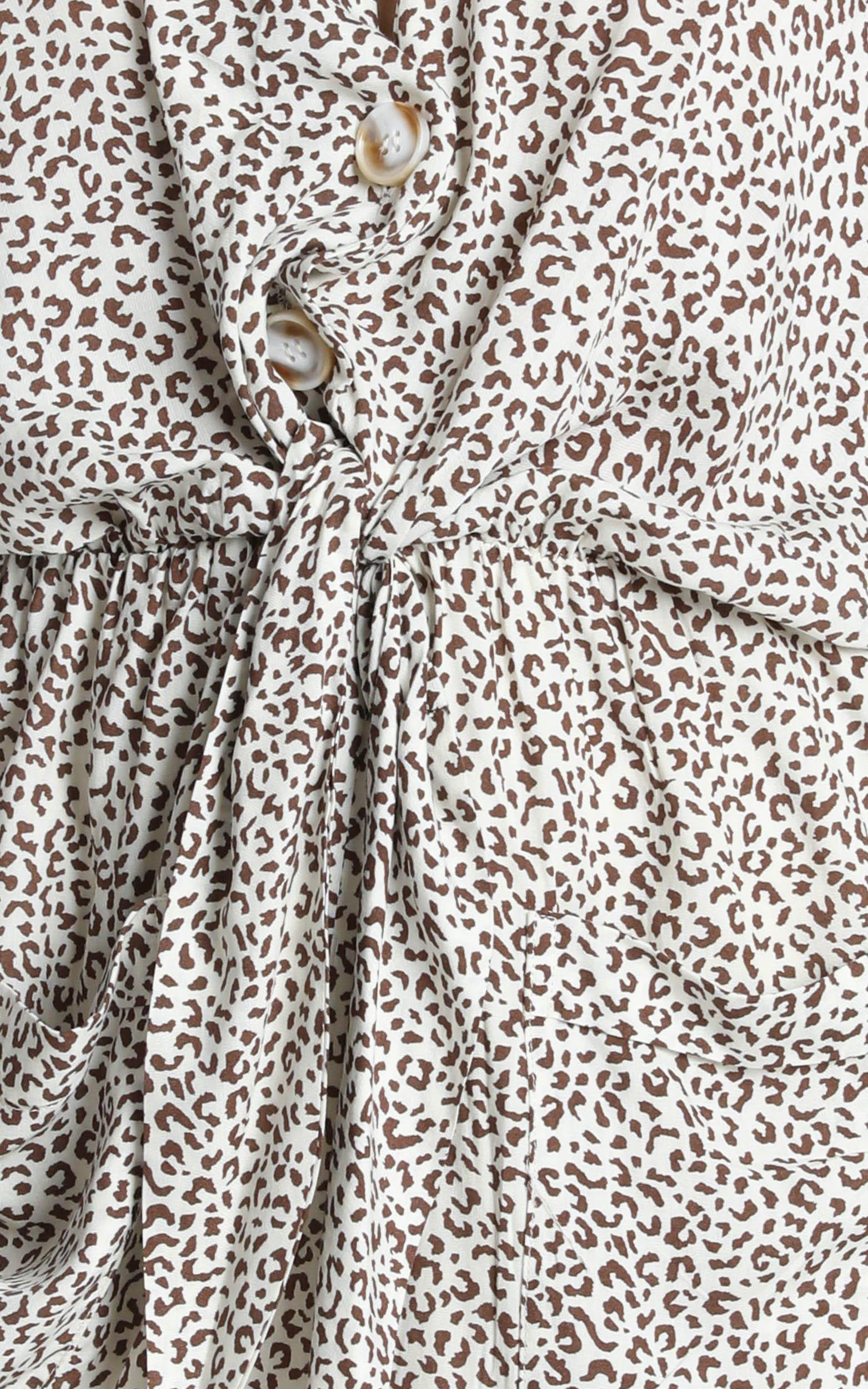 Ruthie Playsuit in leopard print - 14 (XL), Brown, hi-res image number null