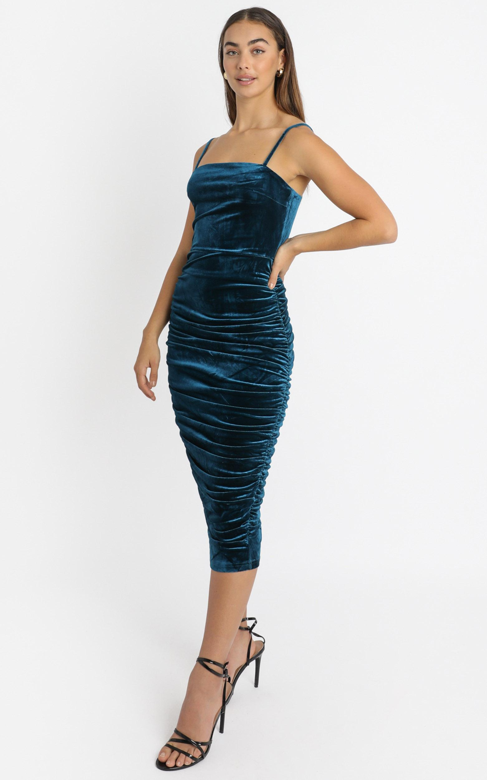 Haisley Ruched Mini Dress in teal velvet - 4 (XXS), Green, hi-res image number null