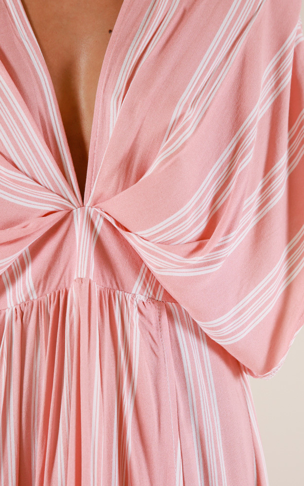 Vacay Ready maxi dress in blush stripe - 12 (L), Blush, hi-res image number null