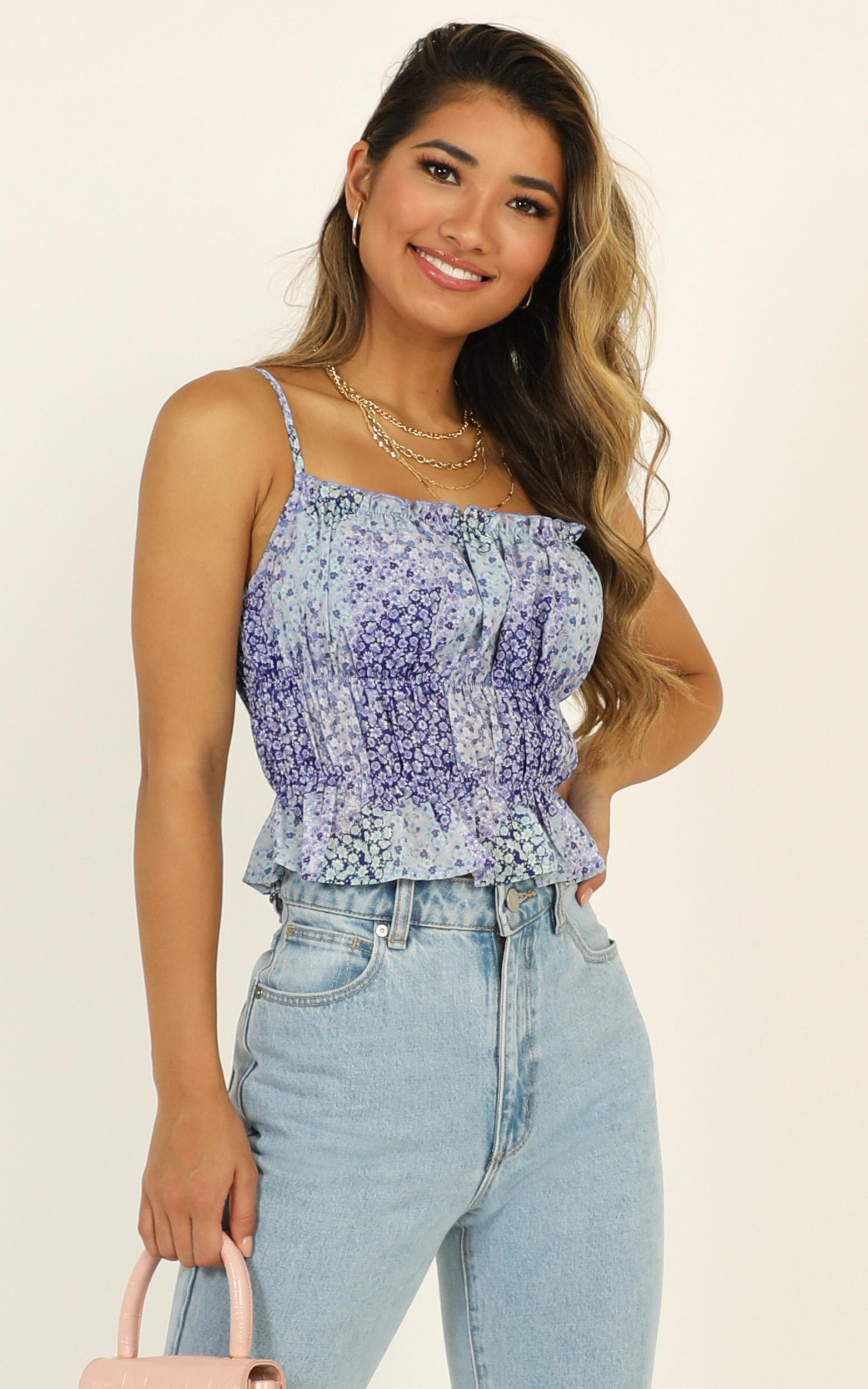 Letters Of Love top in blue floral - 20 (XXXXL), Blue, hi-res image number null
