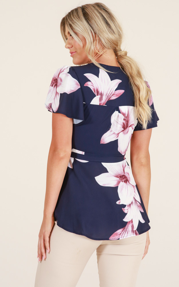Two Lips top in navy floral - 14 (XL), Navy, hi-res image number null