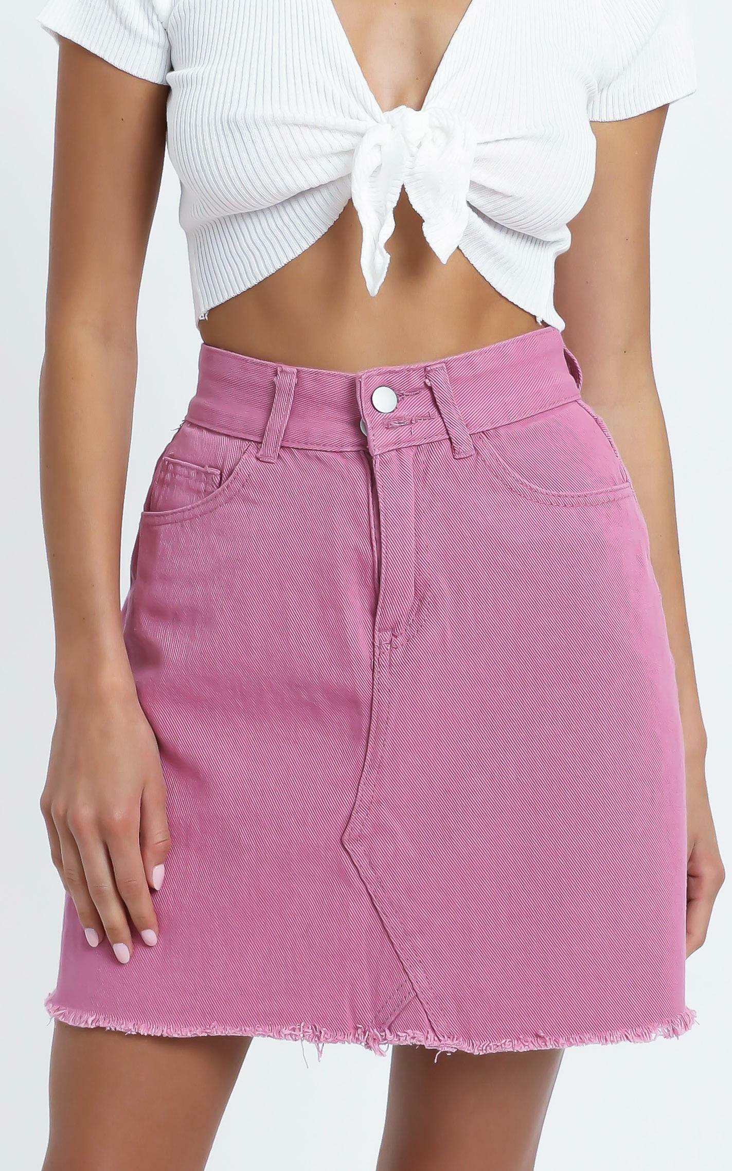 Hilary Denim Skirt in Rose - 12 (L), Pink, hi-res image number null