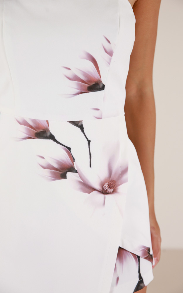 Caught My Eyes playsuit in white floral - 6 (XS), White, hi-res image number null