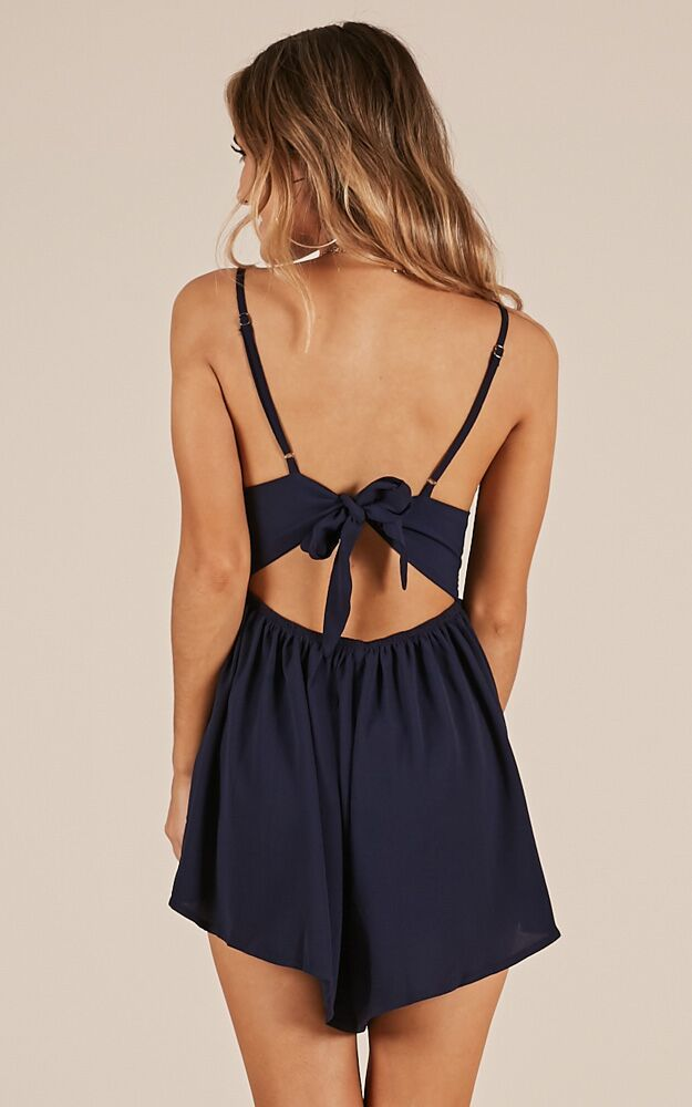 Sitting Waiting Wishing playsuit in navy - 14 (XL), Navy, hi-res image number null