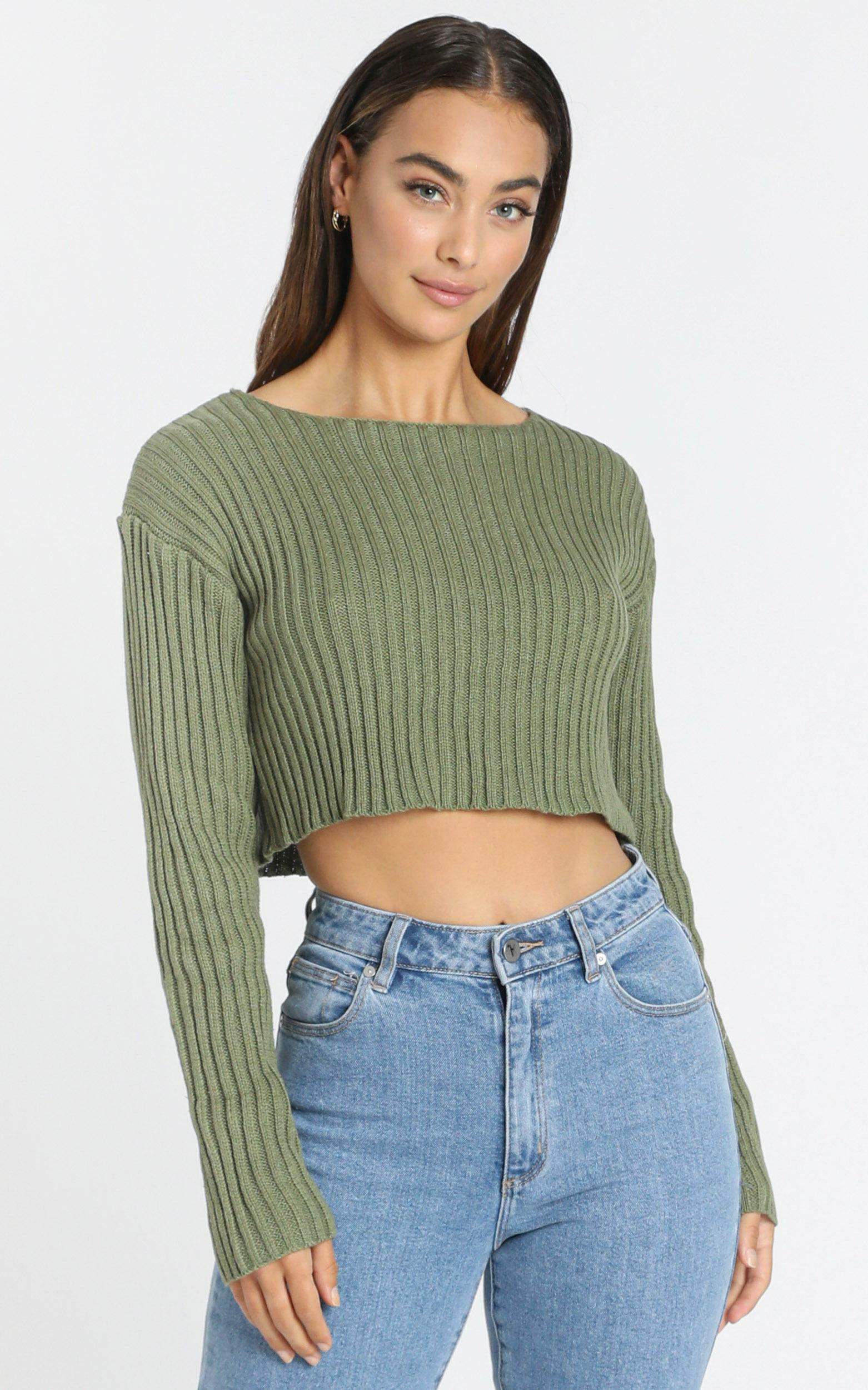 Born Influencer Ribbed Knit in Khaki - S/M, GRN1, hi-res image number null