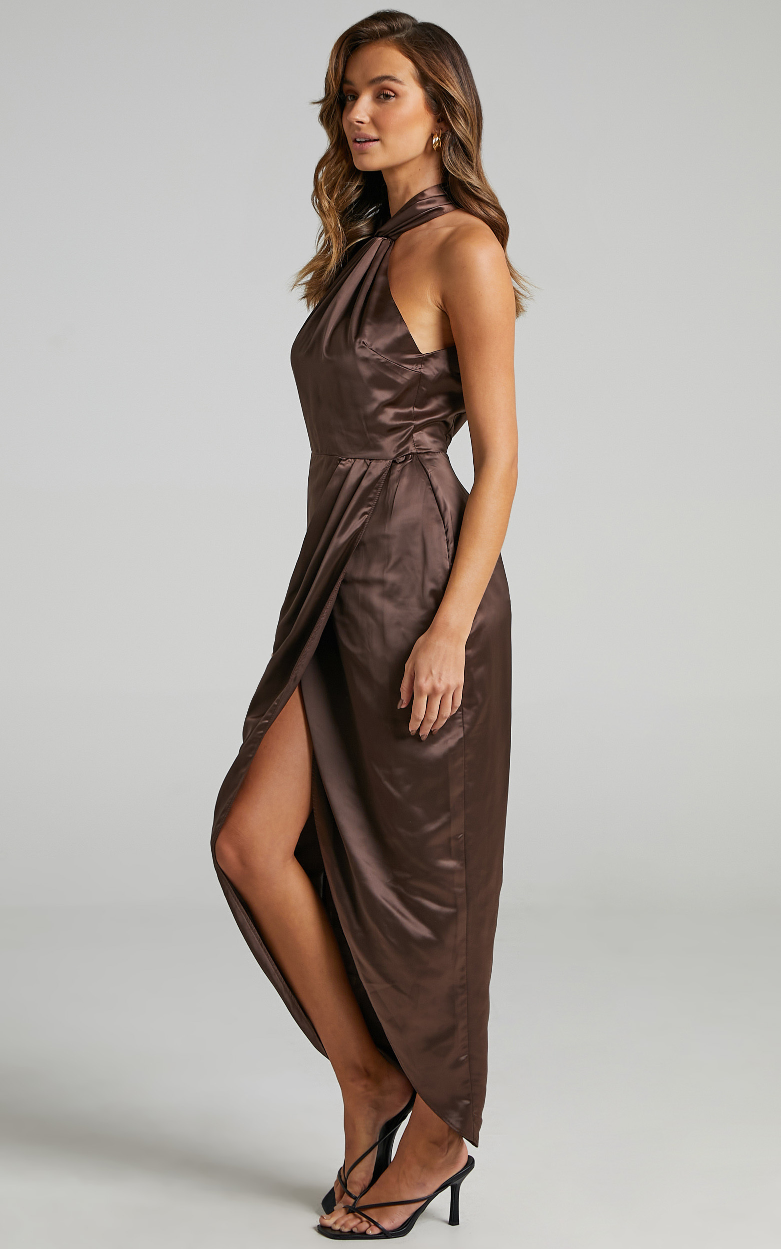 Unreal Dream Dress in Chocolate Satin - 06, BRN1, hi-res image number null