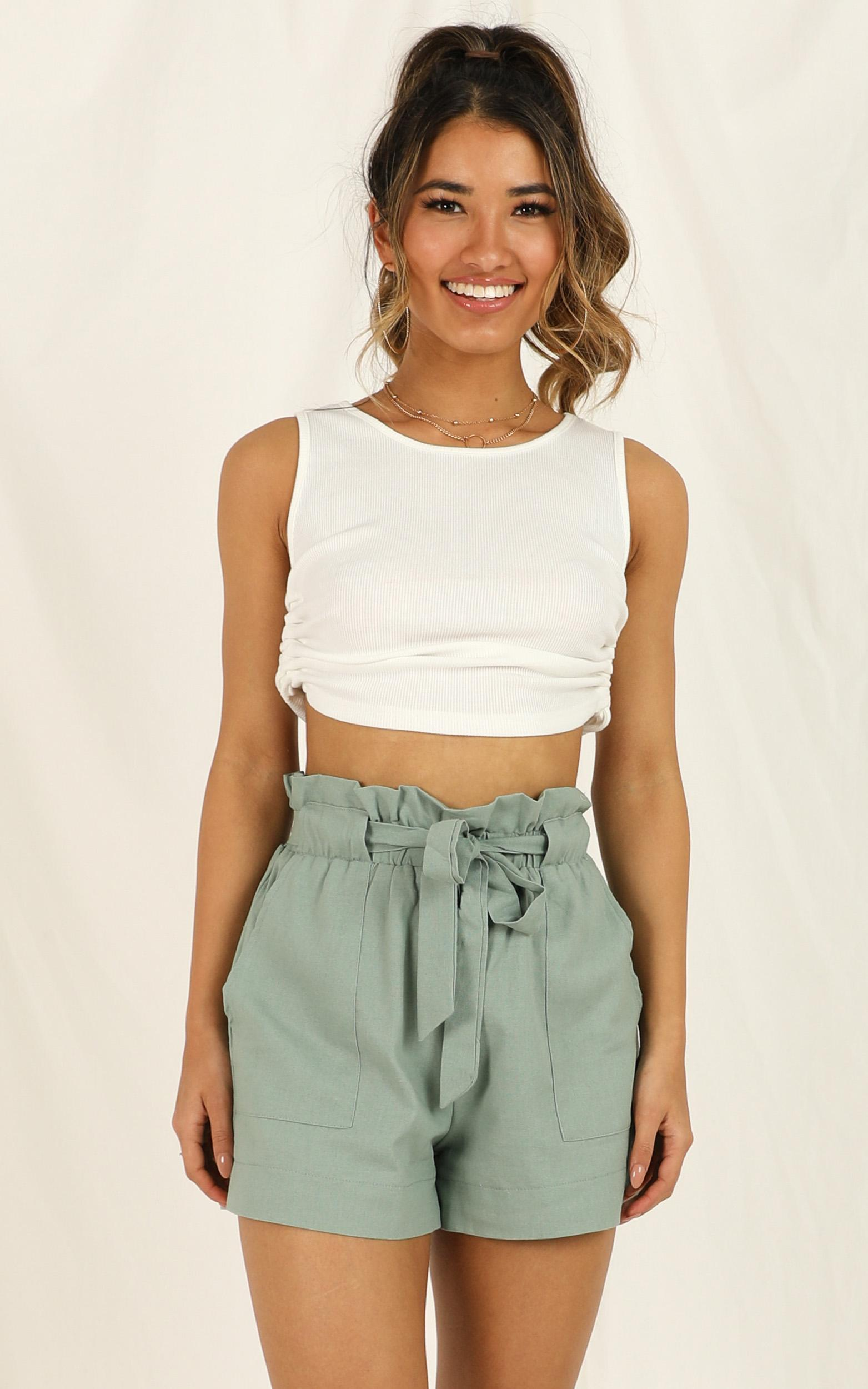 All Rounder Shorts in sage linen look - 6 (XS), Sage, hi-res image number null