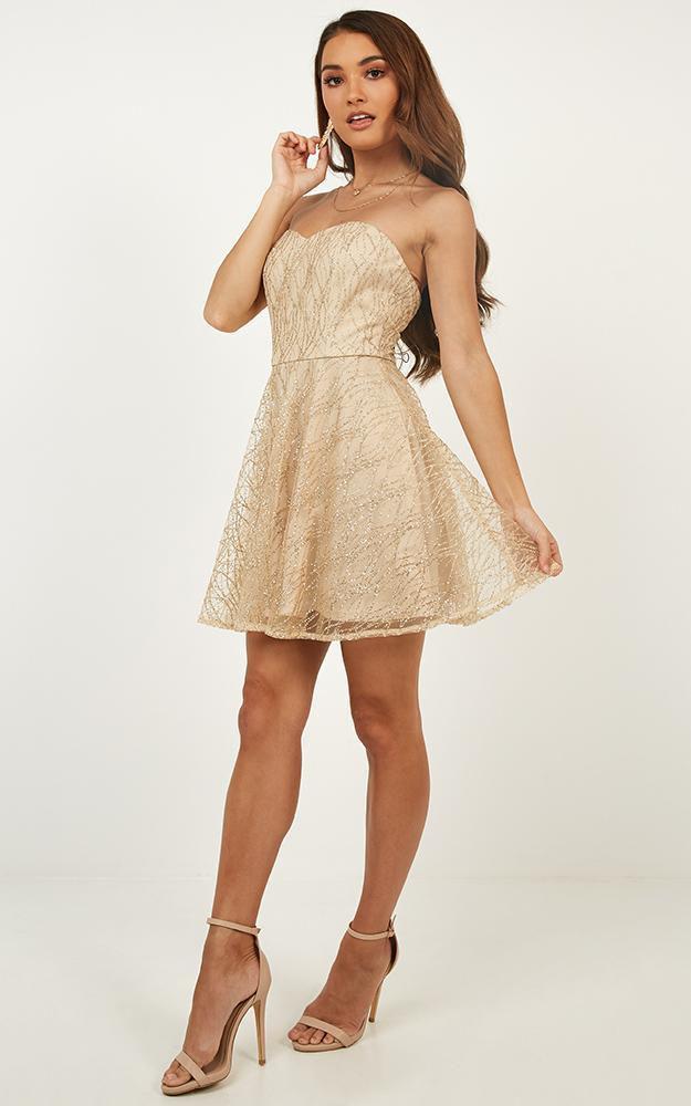 Light Up The Night Dress in gold glitter - 14 (XL), Gold, hi-res image number null